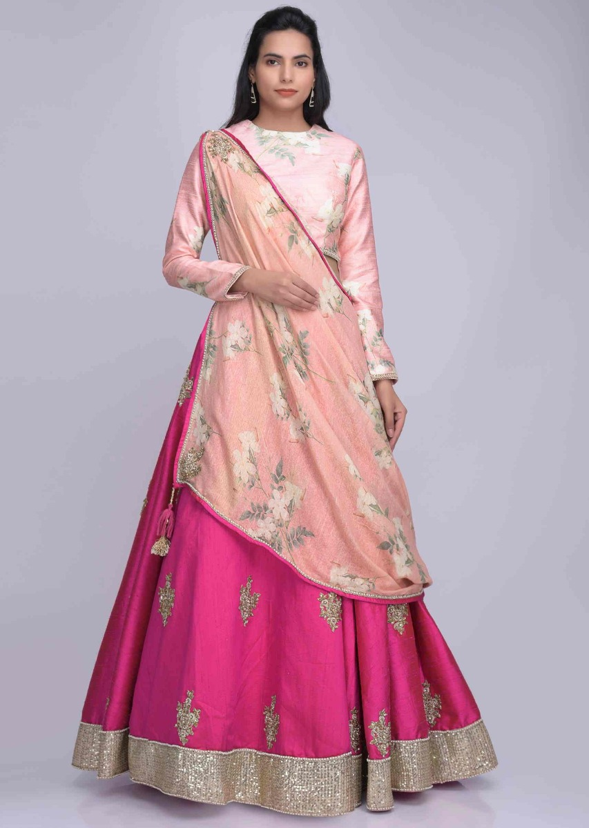 7fe309dc3e Fuschia pink raw silk lehenga with floral printed draped cotton dupatta only  on KalkiMore Detail