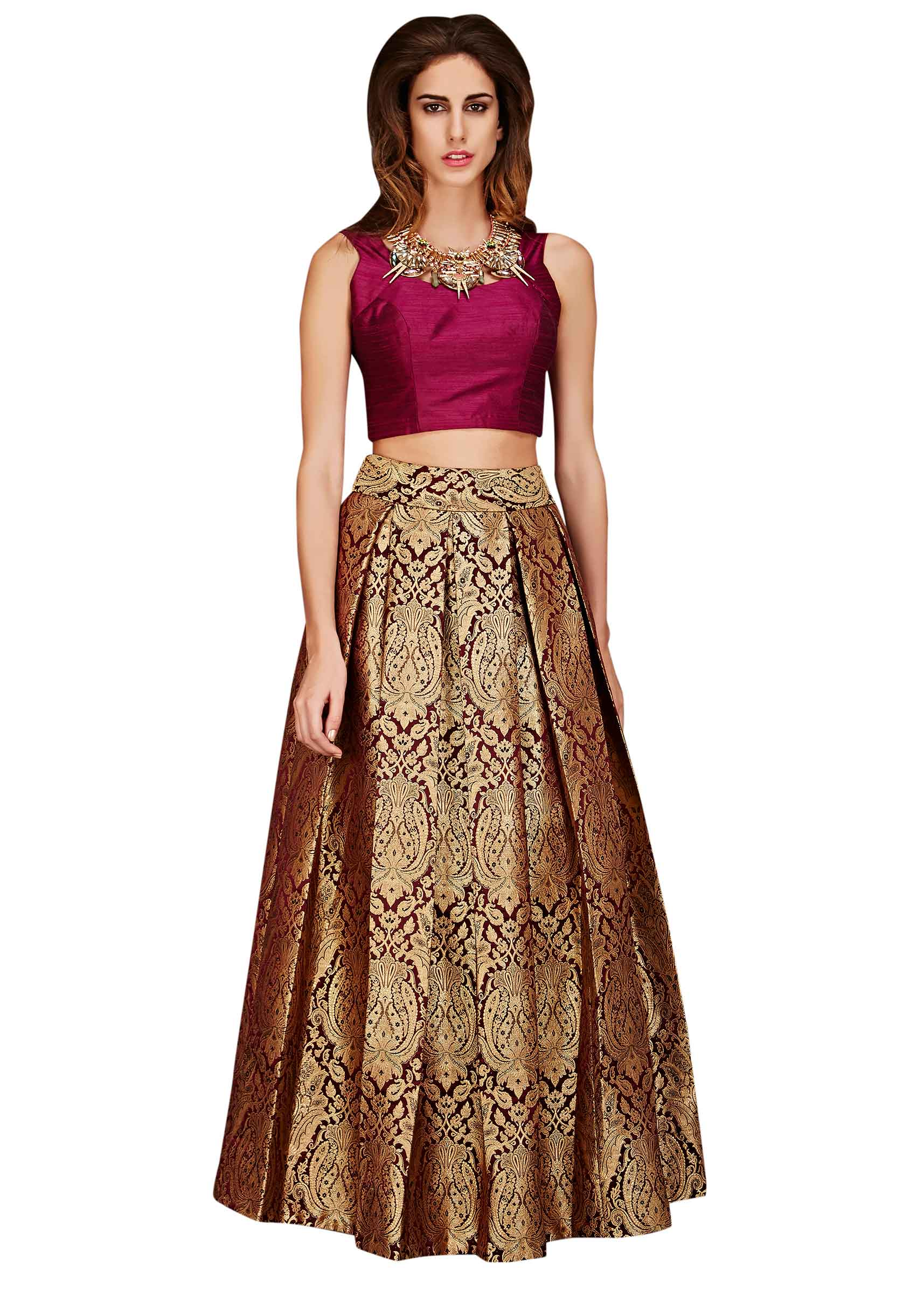 ee3cb83ff0a0db Gold brocade skirt with burgundy crop top only on Kalki