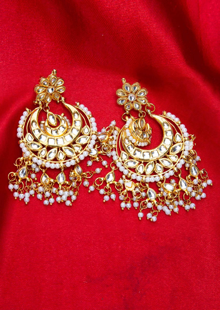 f5aa170d26447 Gold plated chandbali earring with nano moti drops only on Kalki