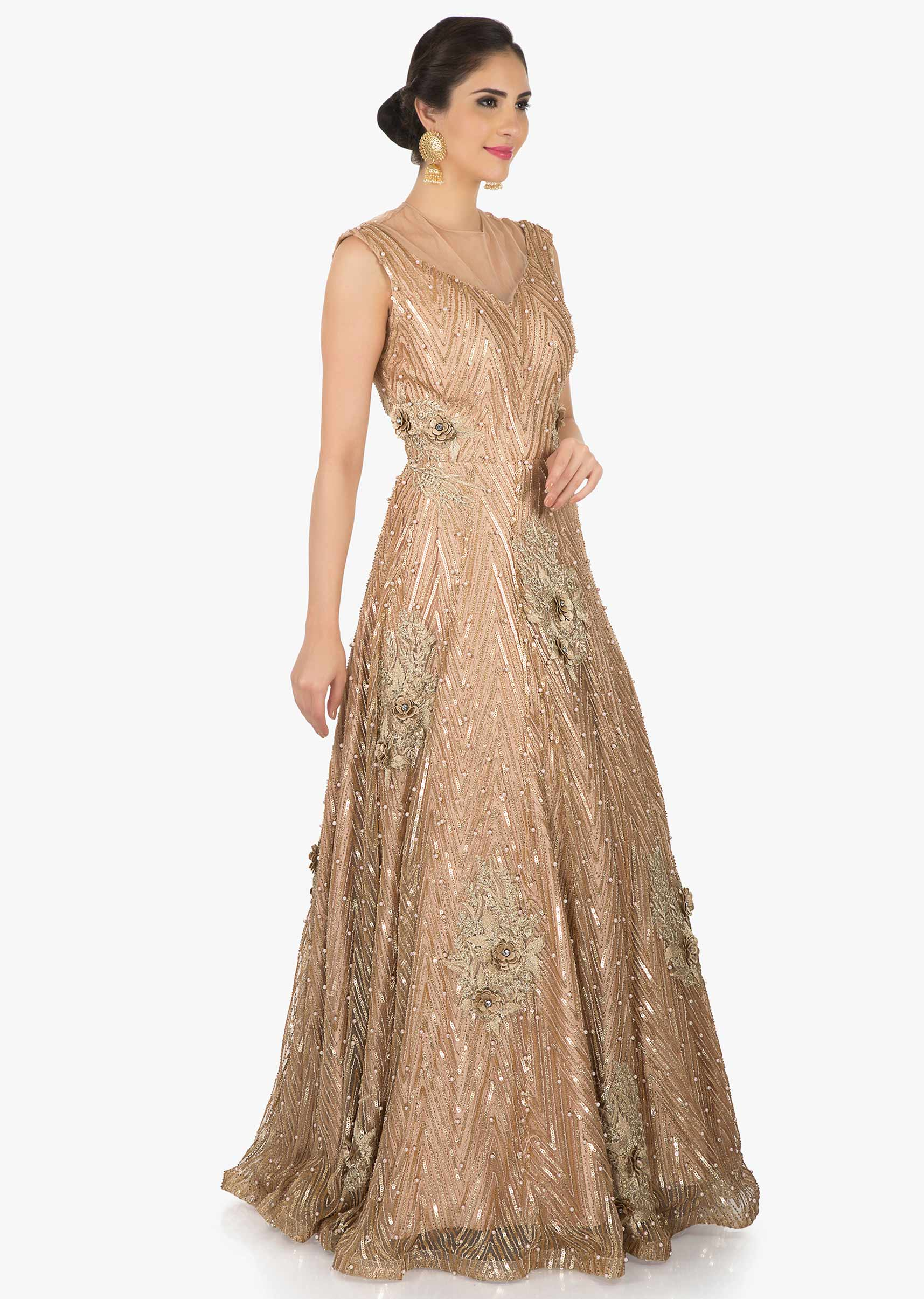 50b8e60e Golden net gown adorn in moti and sequin embroidery work only on Kalki