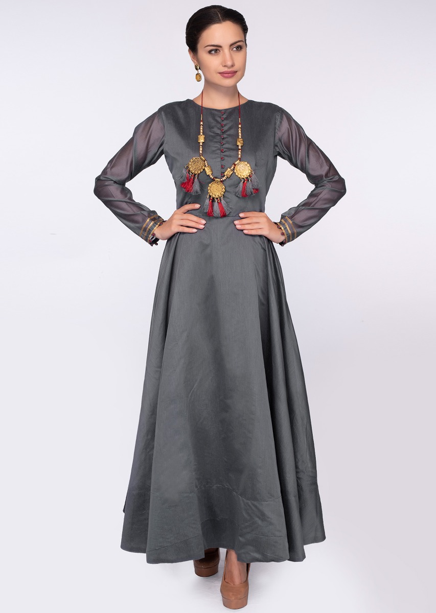 f6e86736311 Graphite grey high neck anarkali dress with a grey brocade dupatta only on  Kalki