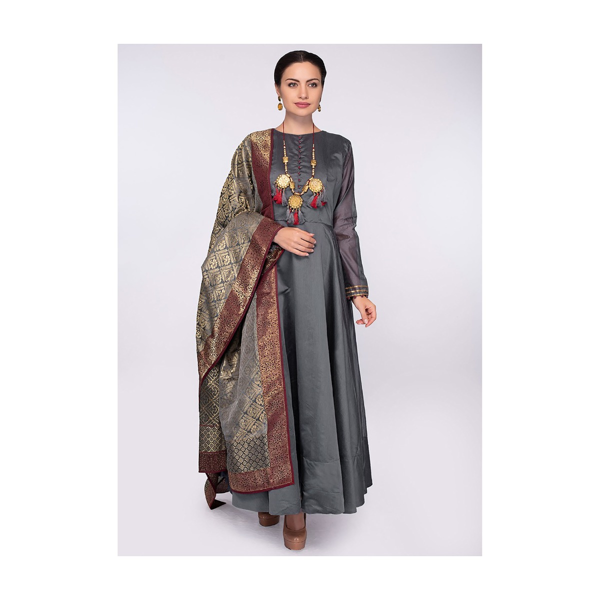 48b74cf04f8 Graphite grey high neck anarkali dress with a grey brocade dupatta only on  KalkiMore Detail