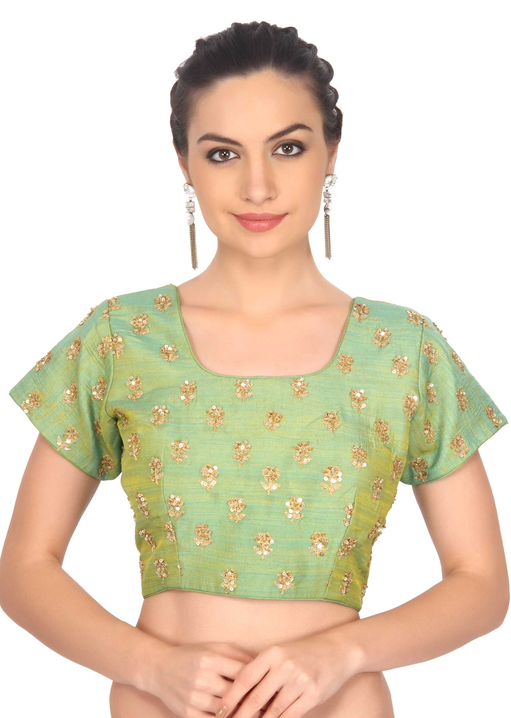 8c2f9b8ff50e80 Green blouse adorn in sequin embroidery only on KalkiMore Detail