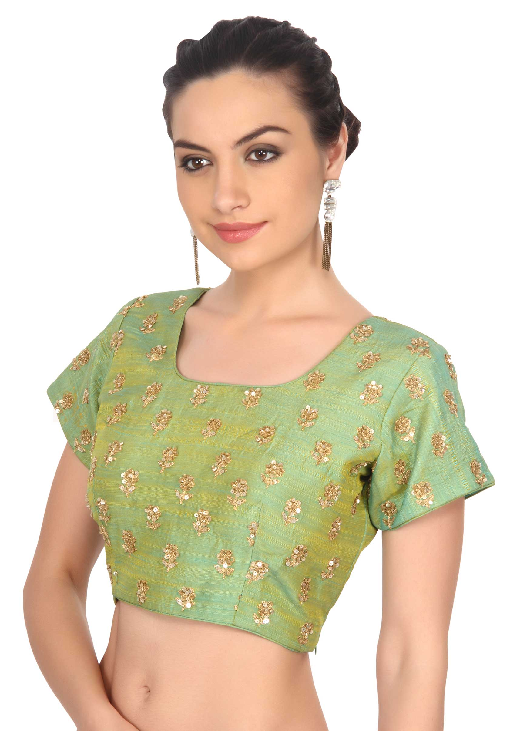 af213ca241db27 Green blouse adorn in sequin embroidery only on Kalki
