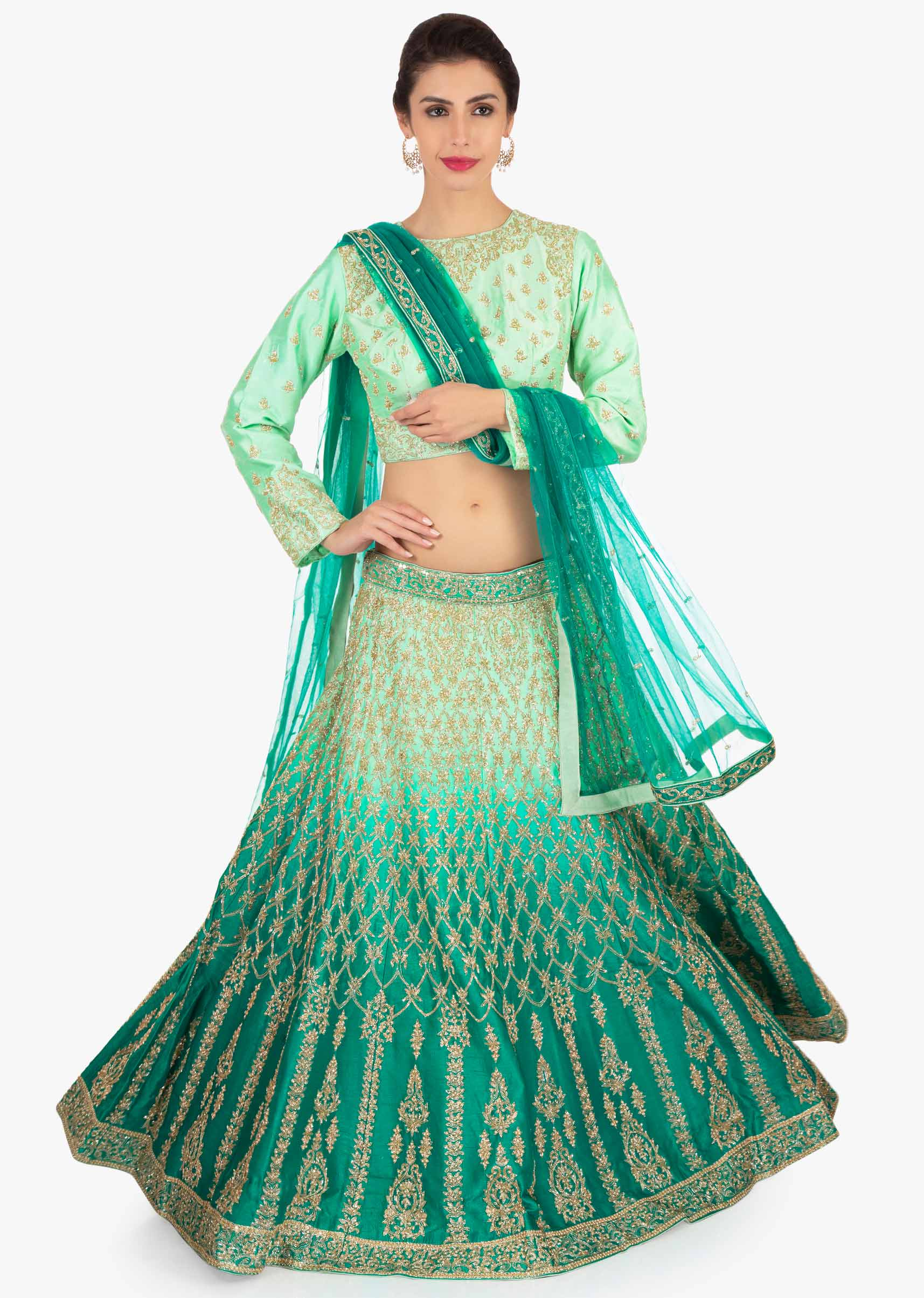 7d66a3fe8e4502 Green shaded lehenga paired with mint green blouse and matching net dupatta  only on KalkiMore Detail