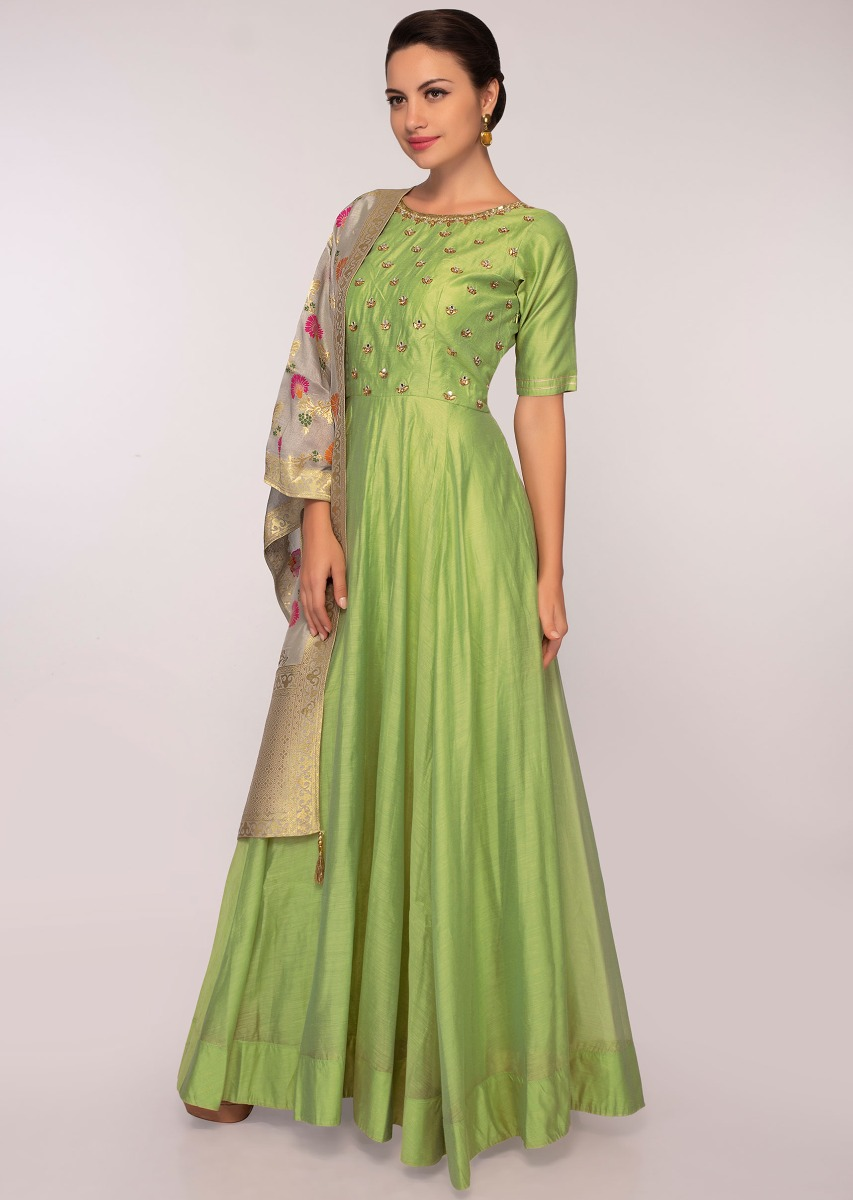 e2d4cc61c30bcf Green chanderi cotton silk anarkali dress paired with grey weaved dupatta  only on Kalki