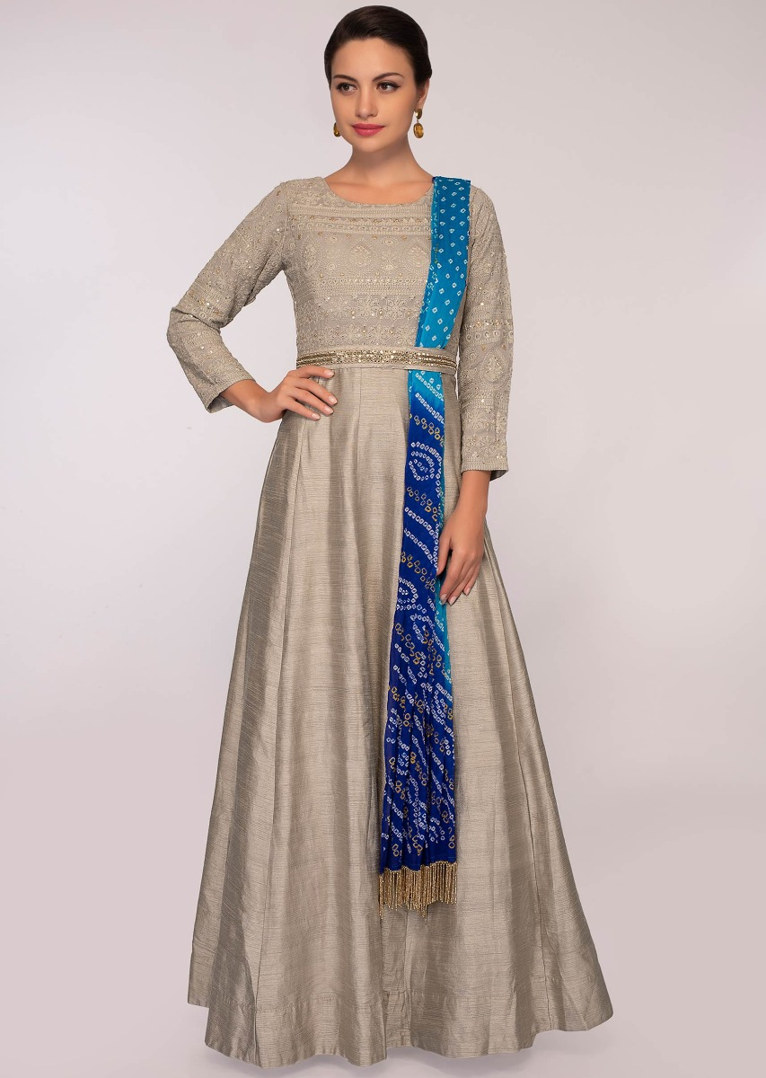 ebe3b1acc72 Grey anarkali dress paired with a blue shaded bandhani printed dupatta only  on Kalki More Detail