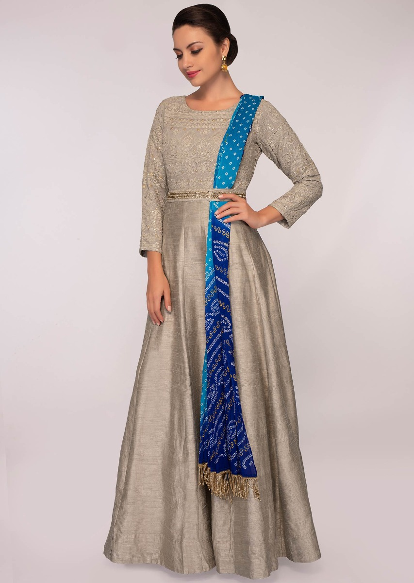 04be942f7e9 Grey anarkali dress paired with a blue shaded bandhani printed dupatta only  on Kalki