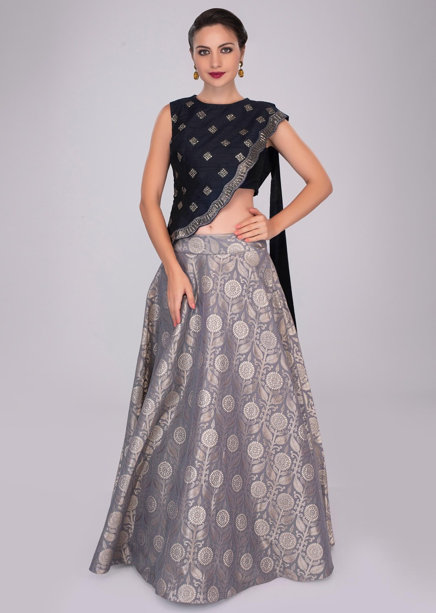 65f51b649929ae Grey brocade skirt paired with oxford blue crop top and embroidered  asymmetric jacket only on KalkiMore Detail