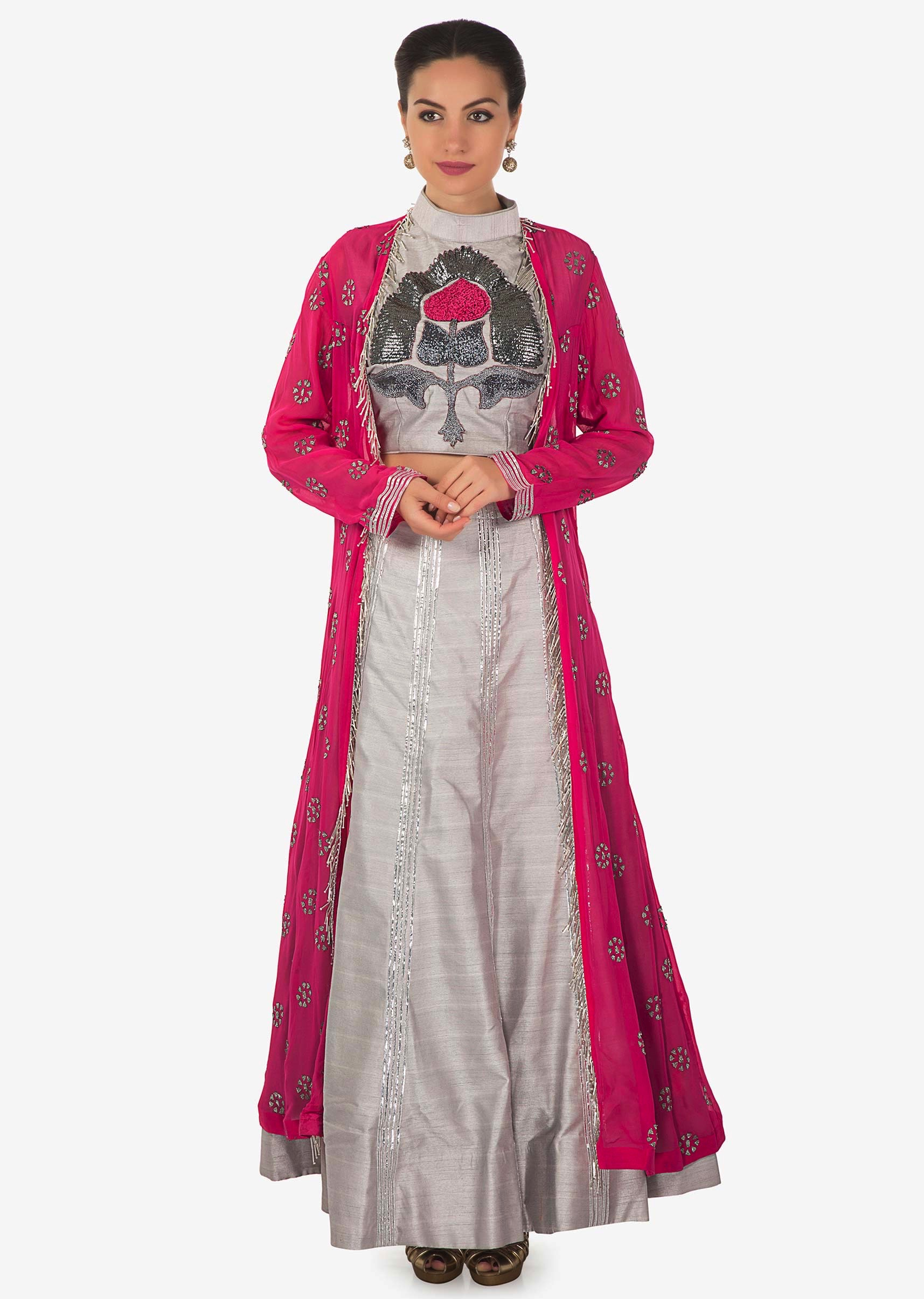 971eb08a778c20 Grey embroidered crop top blouse and skirt matched with pink long jacket  only on Kalki