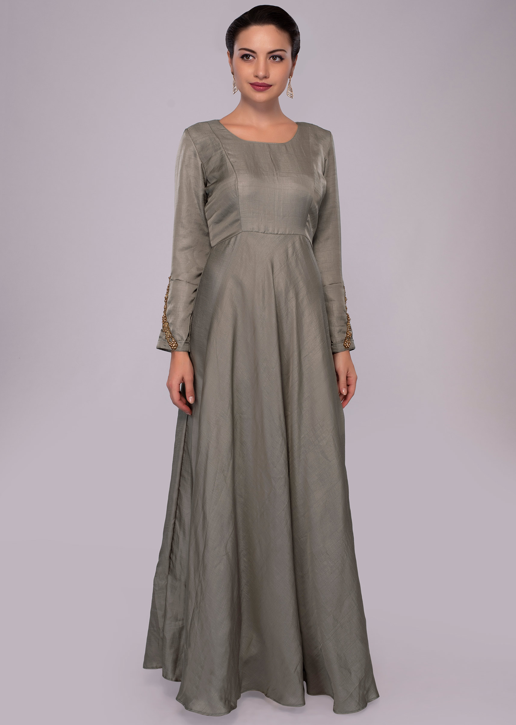 19a8c51e8f4 Grey high neck anarkali dress with indigo blue georgette wrap around only  on Kalki