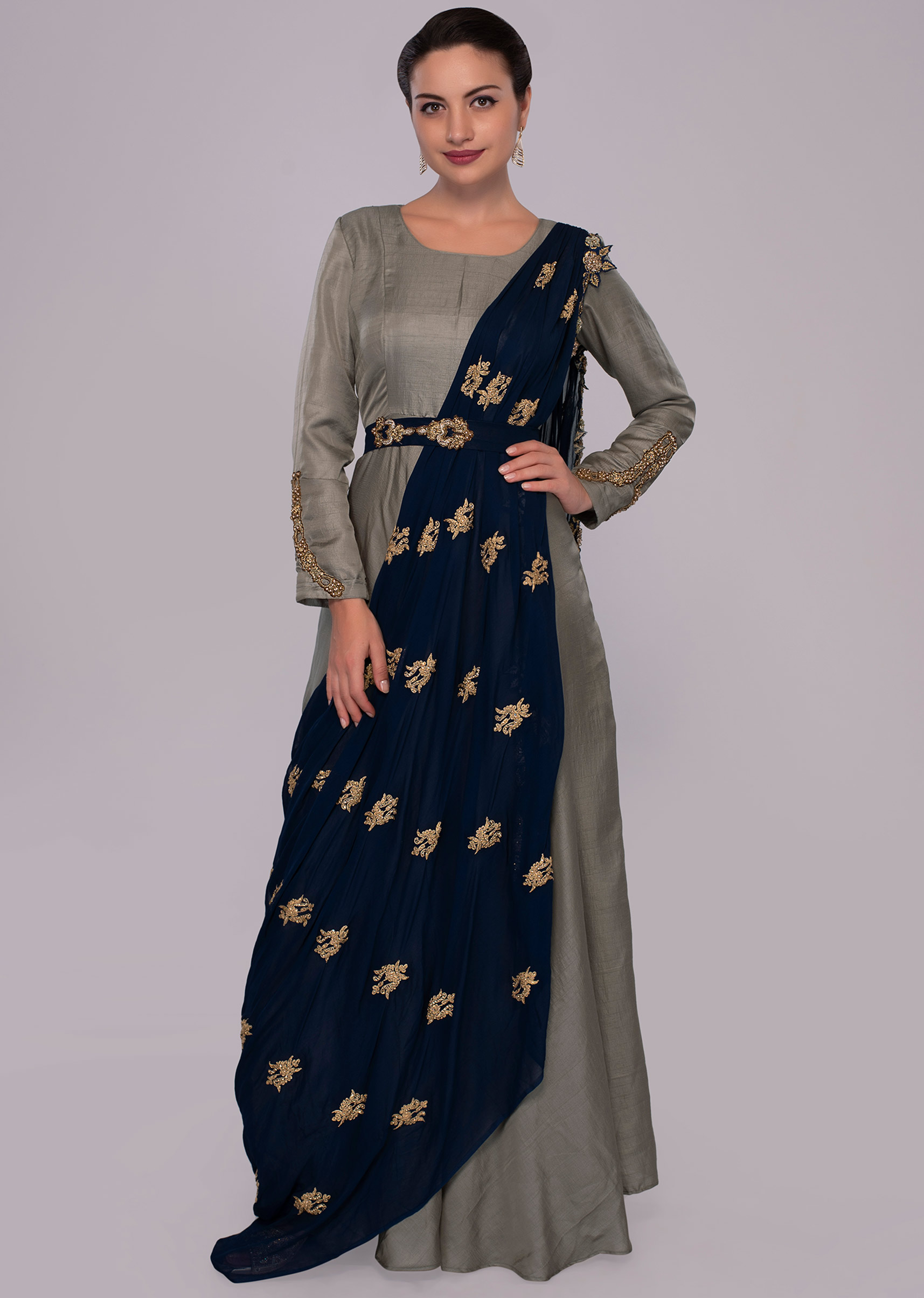 24127d40860 Grey high neck anarkali dress with indigo blue georgette wrap around only  on KalkiMore Detail