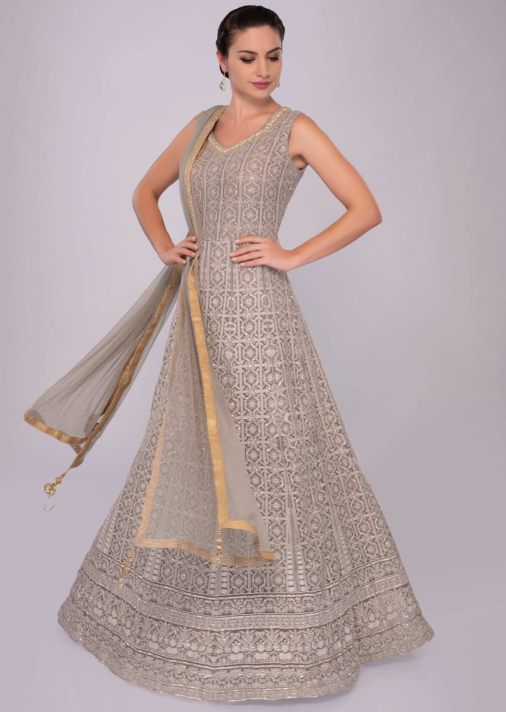 c2e88dde5e Grey lucknowi georgette anarkali dress with net dupatta only on KalkiMore  Detail