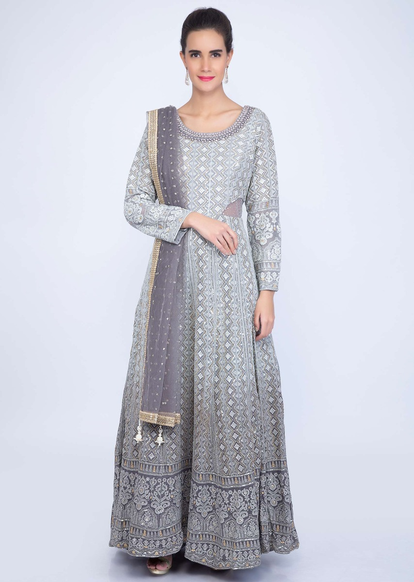 6a29e22e090 Grey shaded lucknowi anarkali with matching net dupatta only on kalki