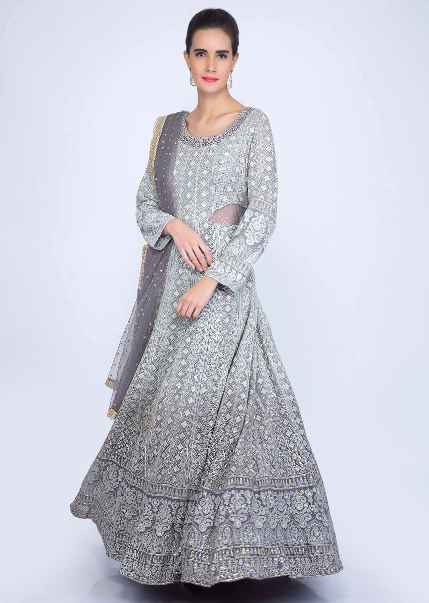 f801e90714b Grey shaded lucknowi anarkali with matching net dupatta only on kalkiMore  Detail
