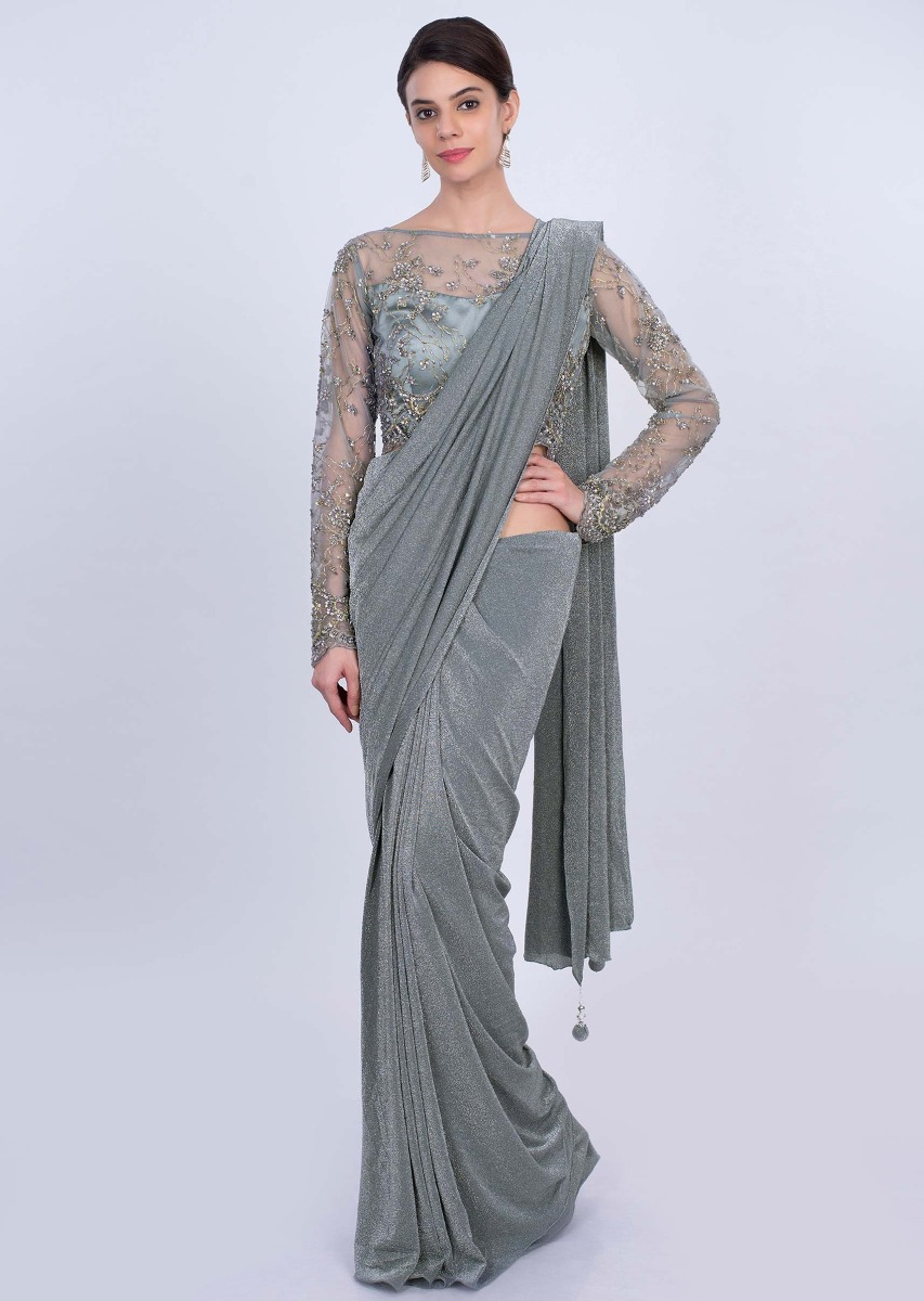 53647a25d Grey shimmer lycra saree with matching net embroidered blouse only on  KalkiMore Detail