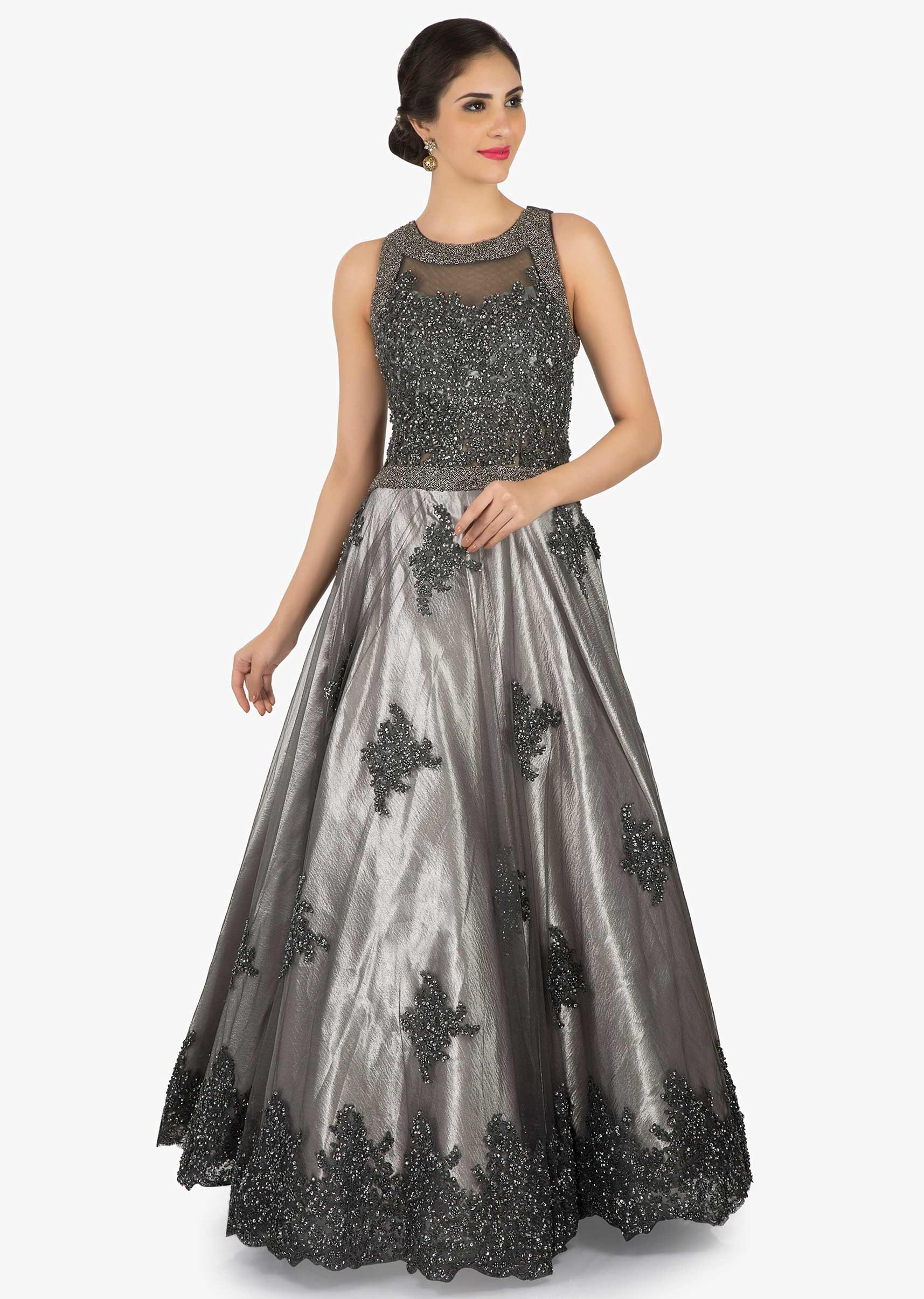 9d4281e6 Grey embroidered net gown embellished in sequin and moti work only on KalkiMore  Detail