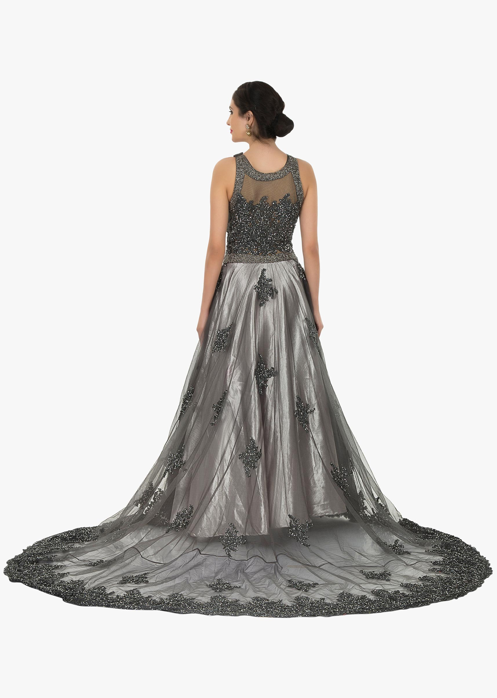 25ef0eaa Grey embroidered net gown embellished in sequin and moti work only on Kalki