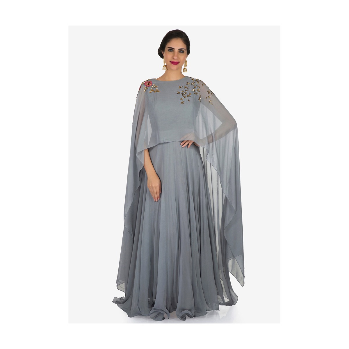 164c760c Grey gown in georgette is beautified with sequin and moti embroidery work  only on Kalki