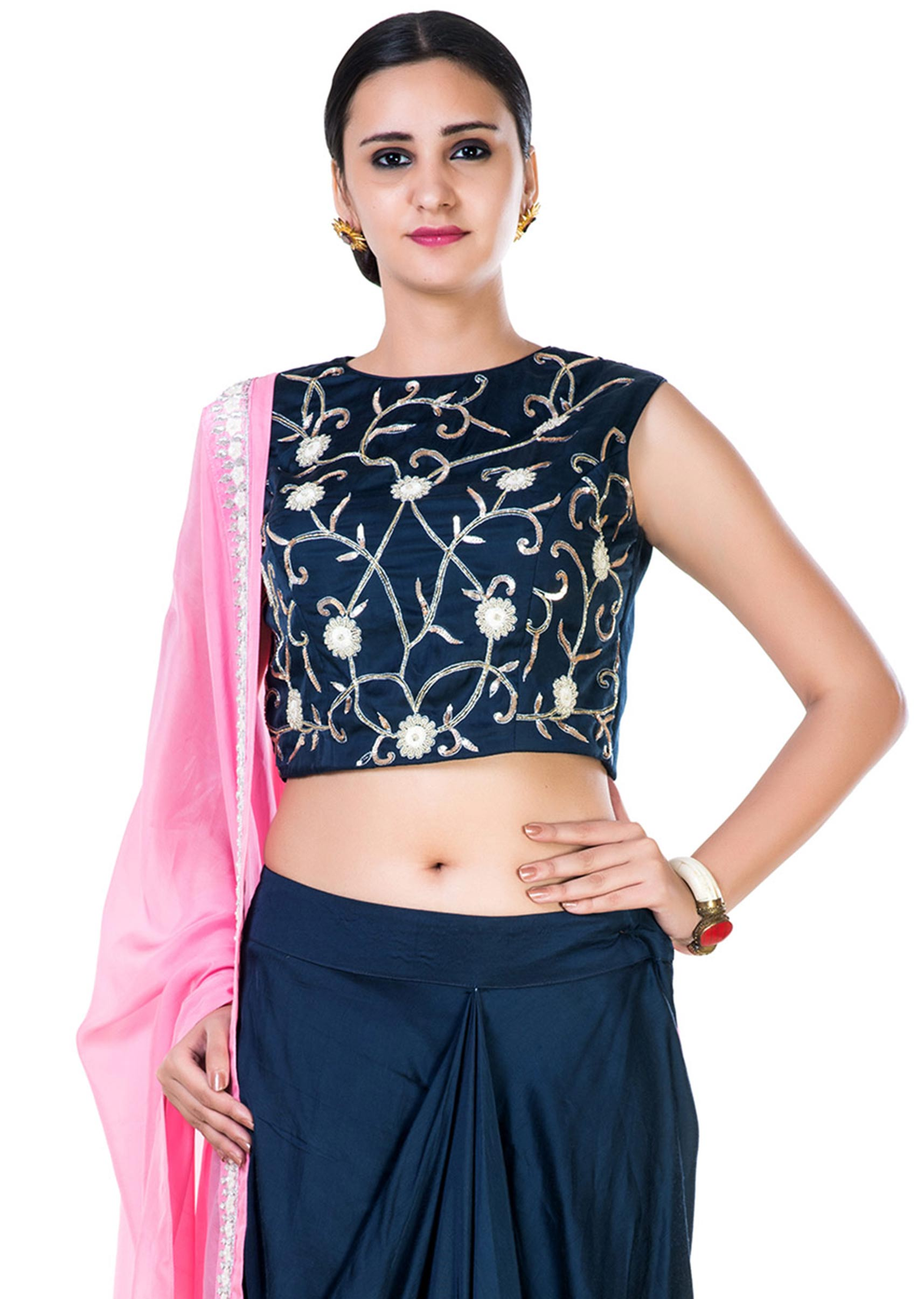e73781f232 Hand Embroidered Navy Blue Crop Top and a Draped Skirt with a Pink Dupatta