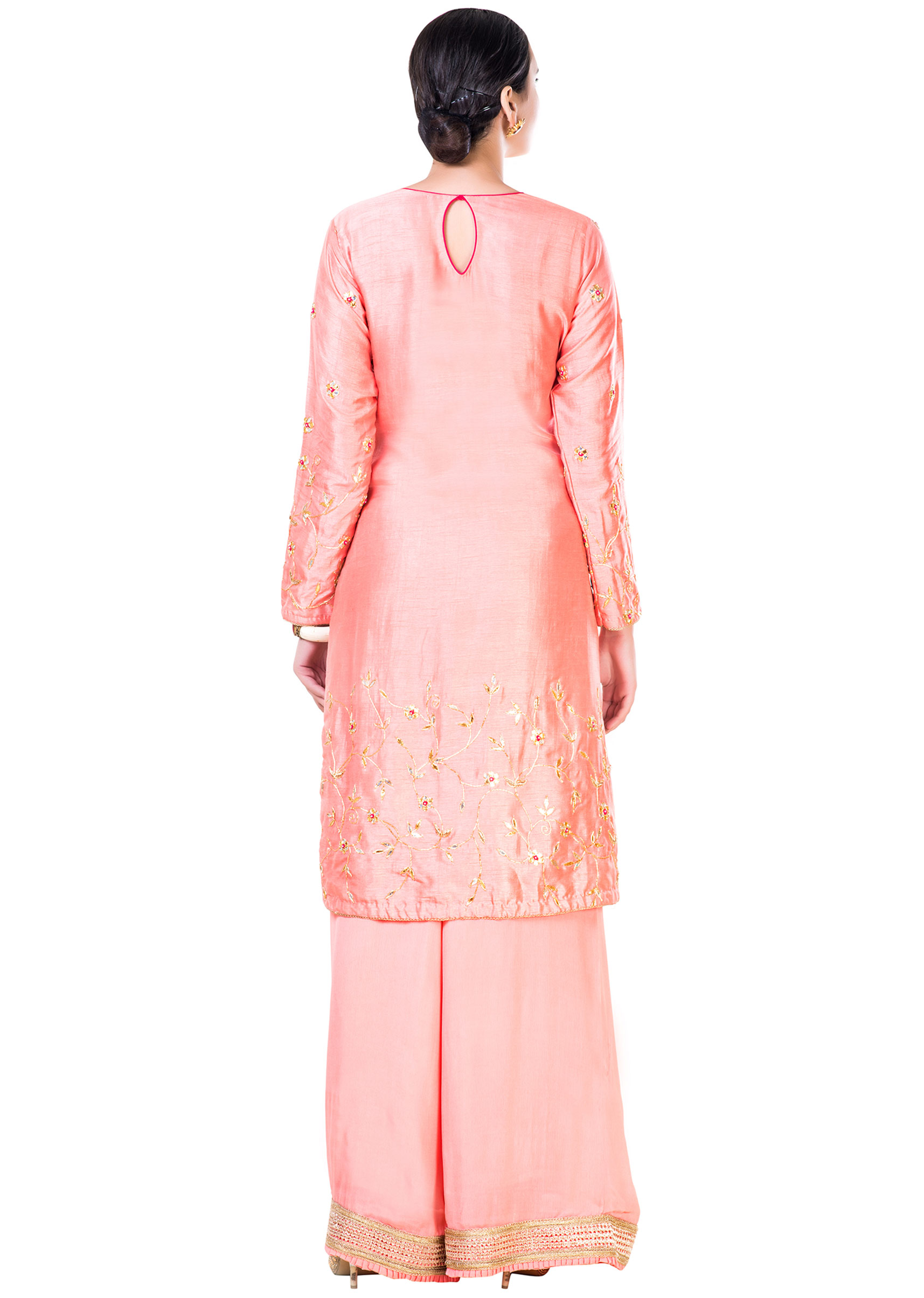 7e3d9b24b9 Hand Embroidered Peach Gota Work Palazzo Suit Set
