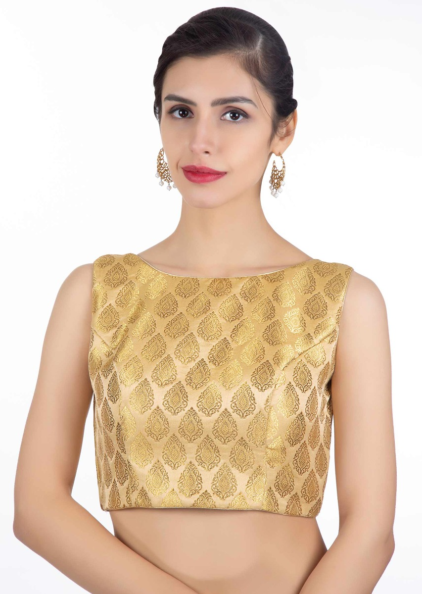 a108ceb84ec015 High neck golden brocade blouse only on Kalki