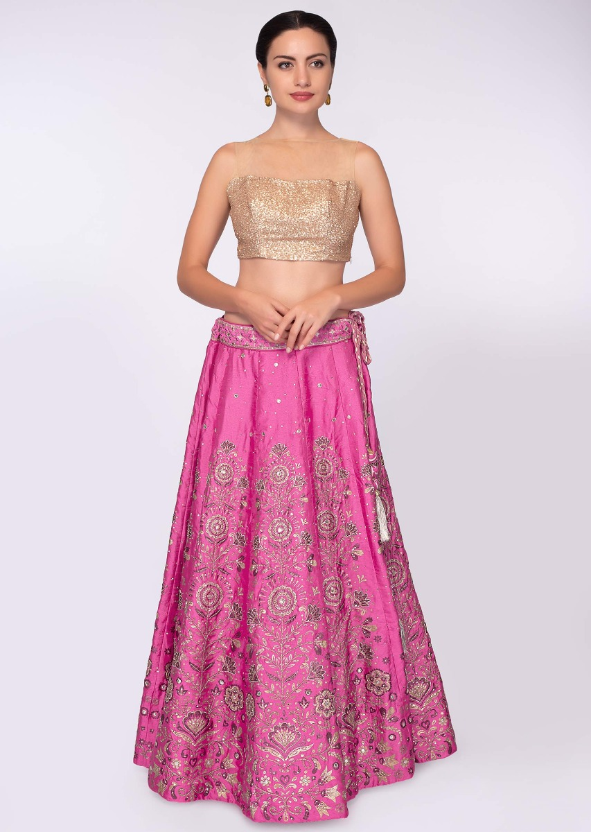 d7410dc975 Hot pink banarasi silk lehenga in floral foil print paired with beige net dupatta  only on KalkiMore Detail