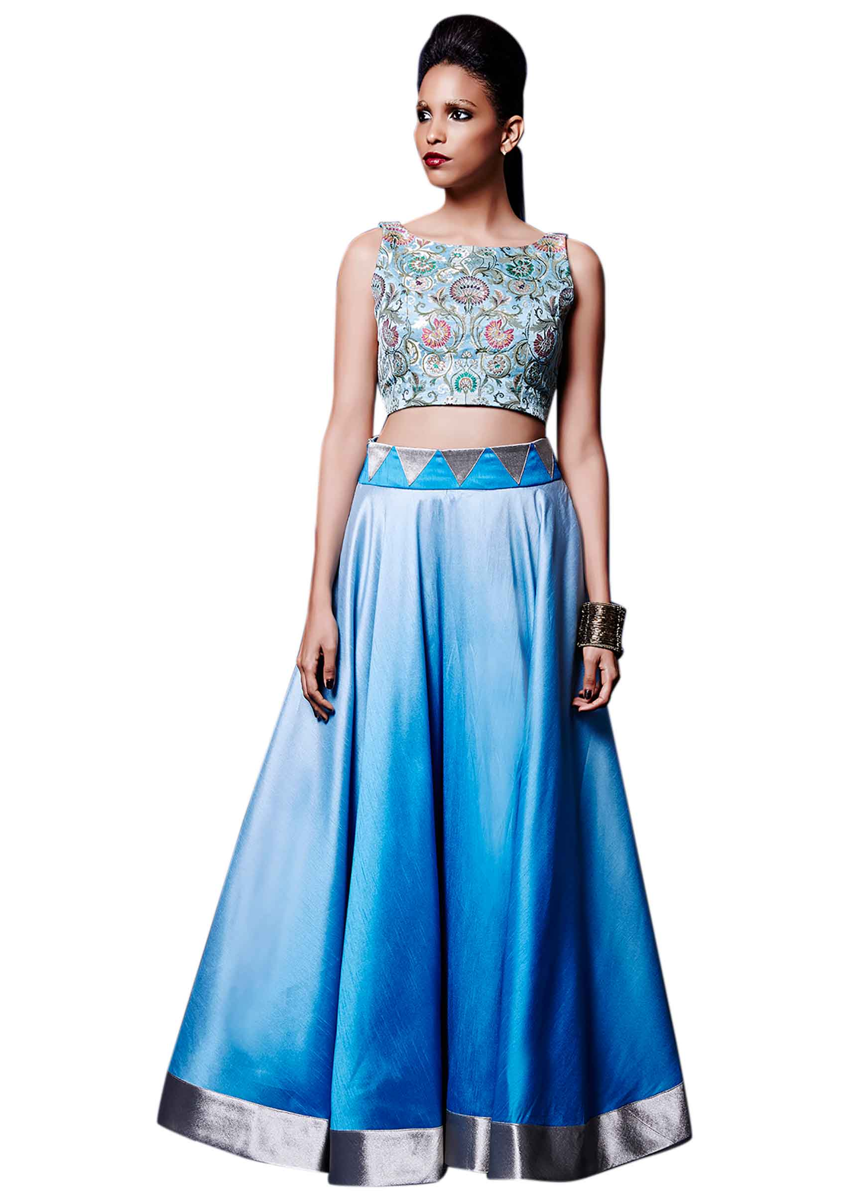 c79eefafae8dc4 Ice blue skirt matched with crop top only on Kalki