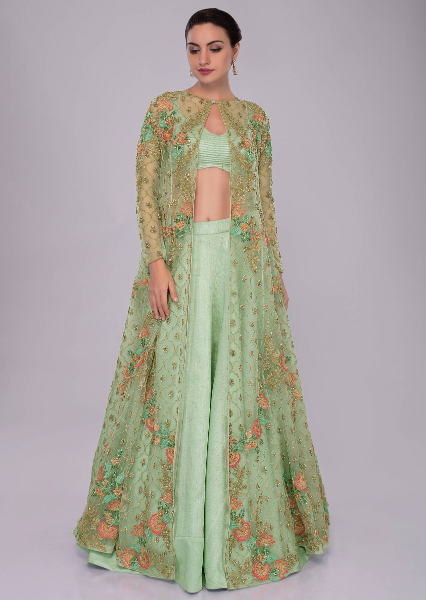 e9bd921263e Irish green raw silk skirt and blouses paired with long net embroidered  jacket only on Kalki
