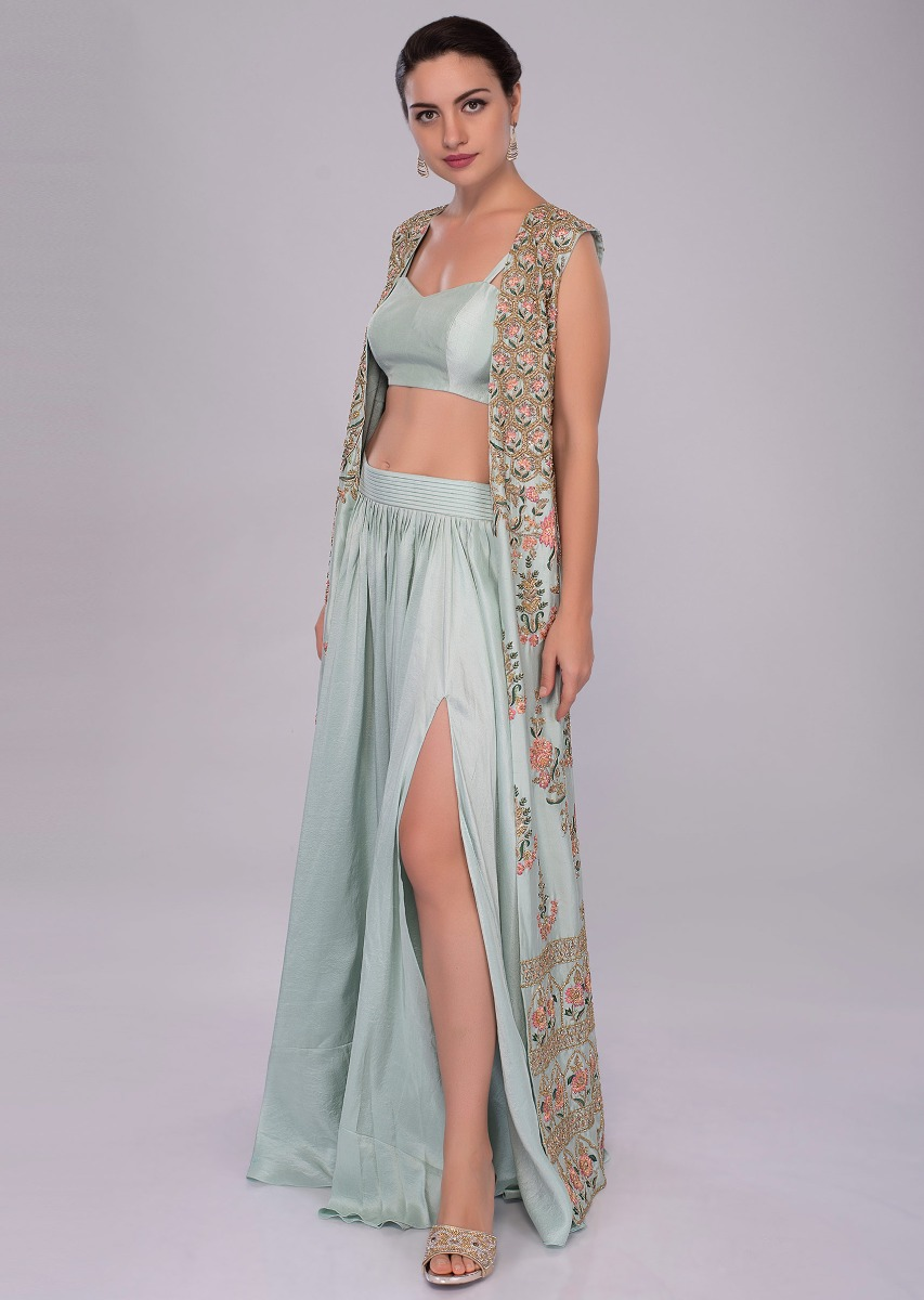 79c999b0db5f19 Irish mint heavy dupion skirt and bustier with long embroidered jacket only  on Kalki