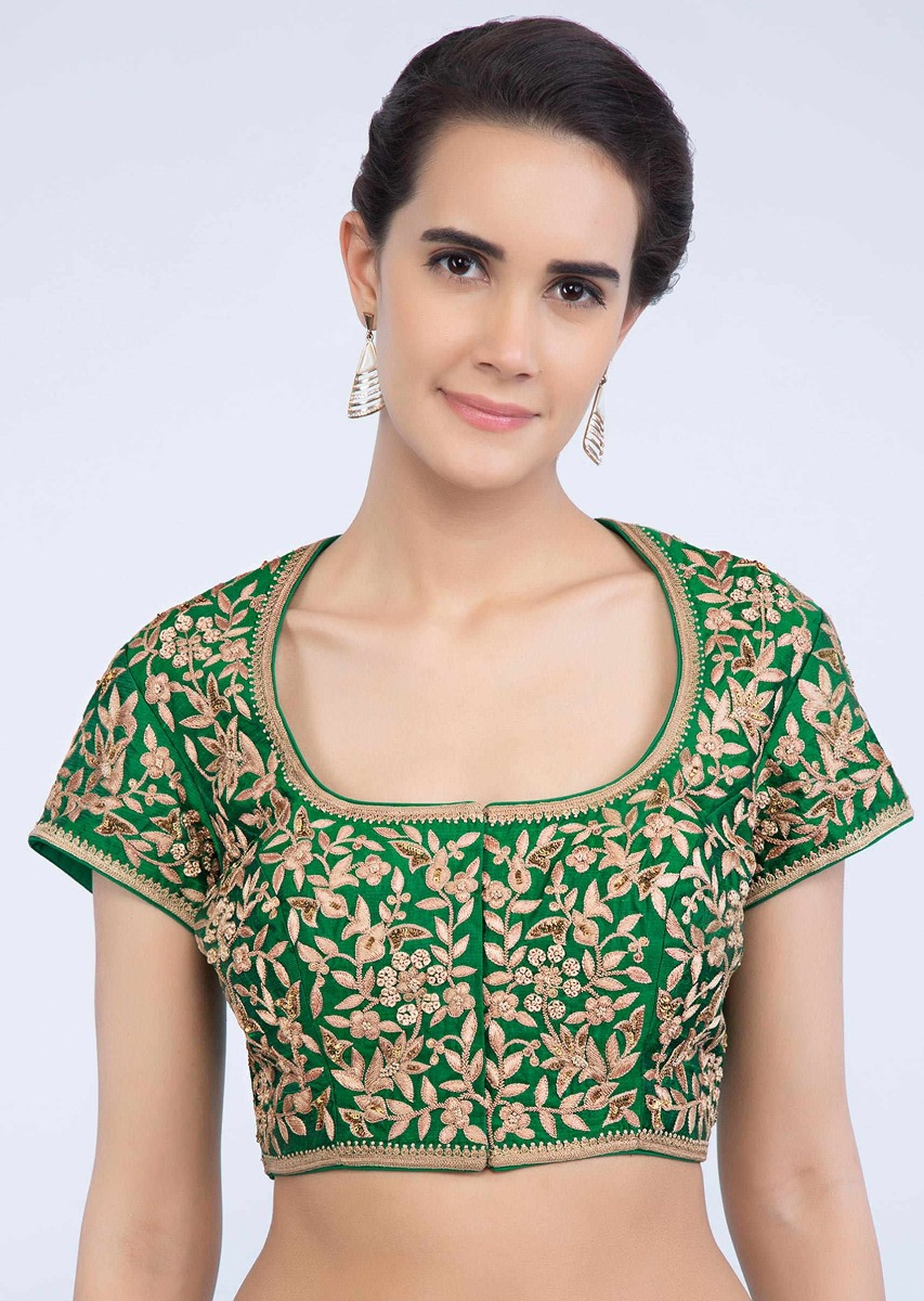 3d98025b973234 Jade green raw silk blouse with floral thread jaal embroidery only on Kalki