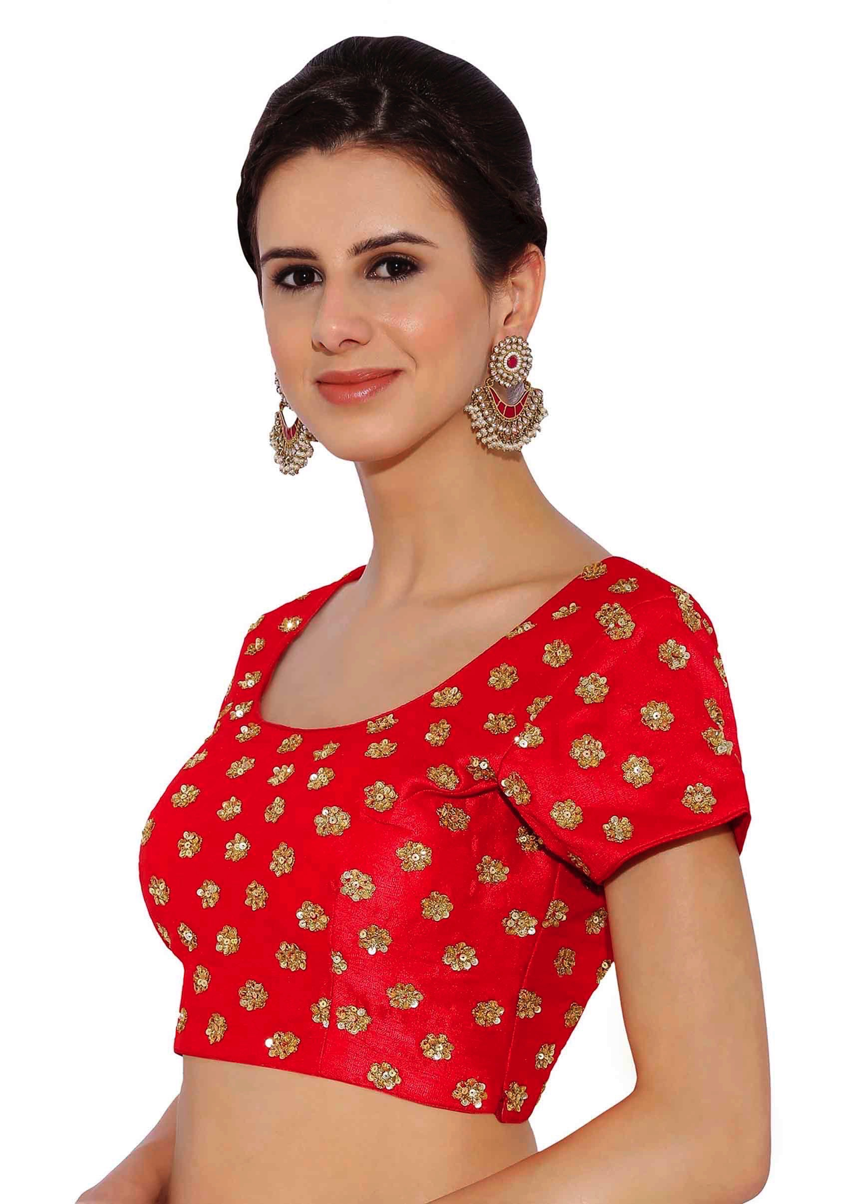 4816ee92819568 Cherry Red Raw Silk Blouse With Sequin Embroidery only on Kalki