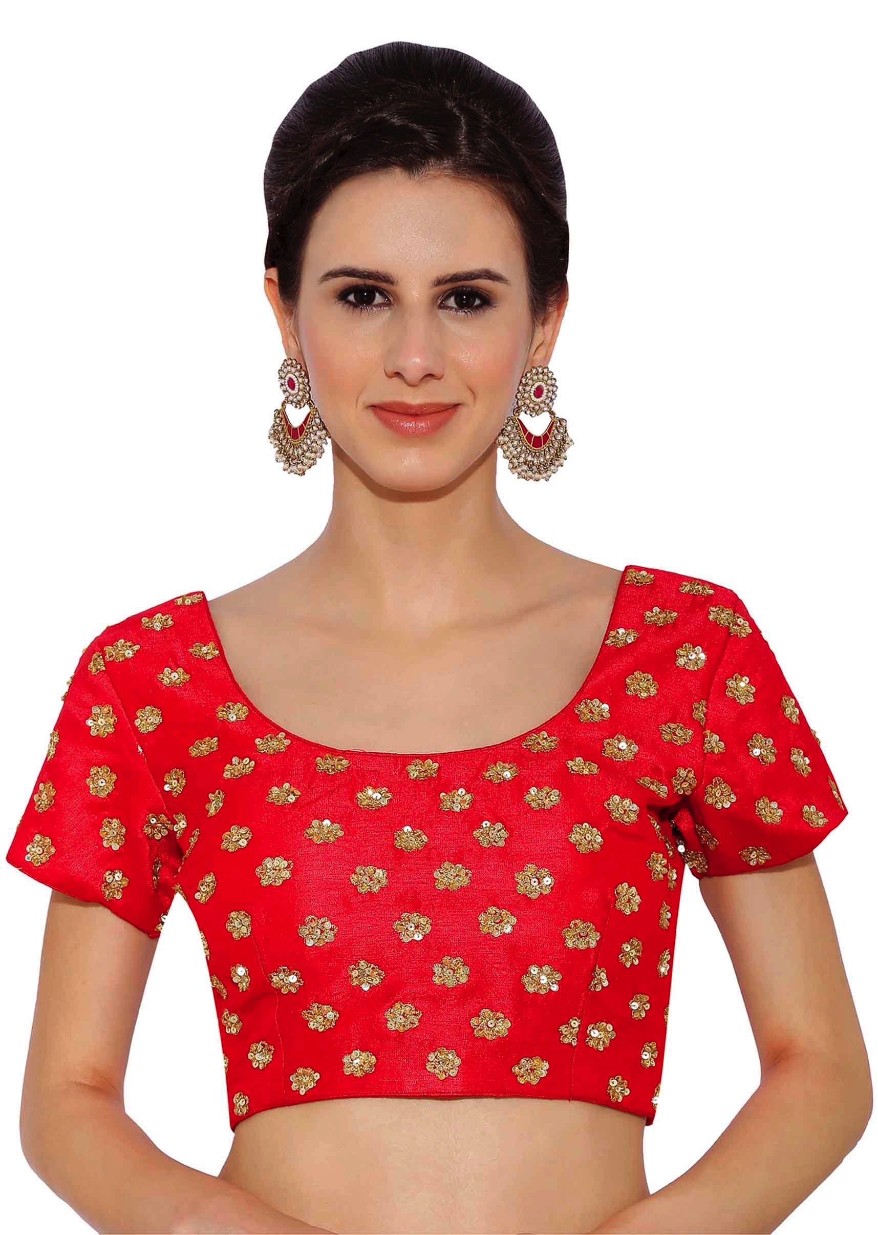 43b0fb29561305 Cherry Red Raw Silk Blouse With Sequin Embroidery only on KalkiMore Detail