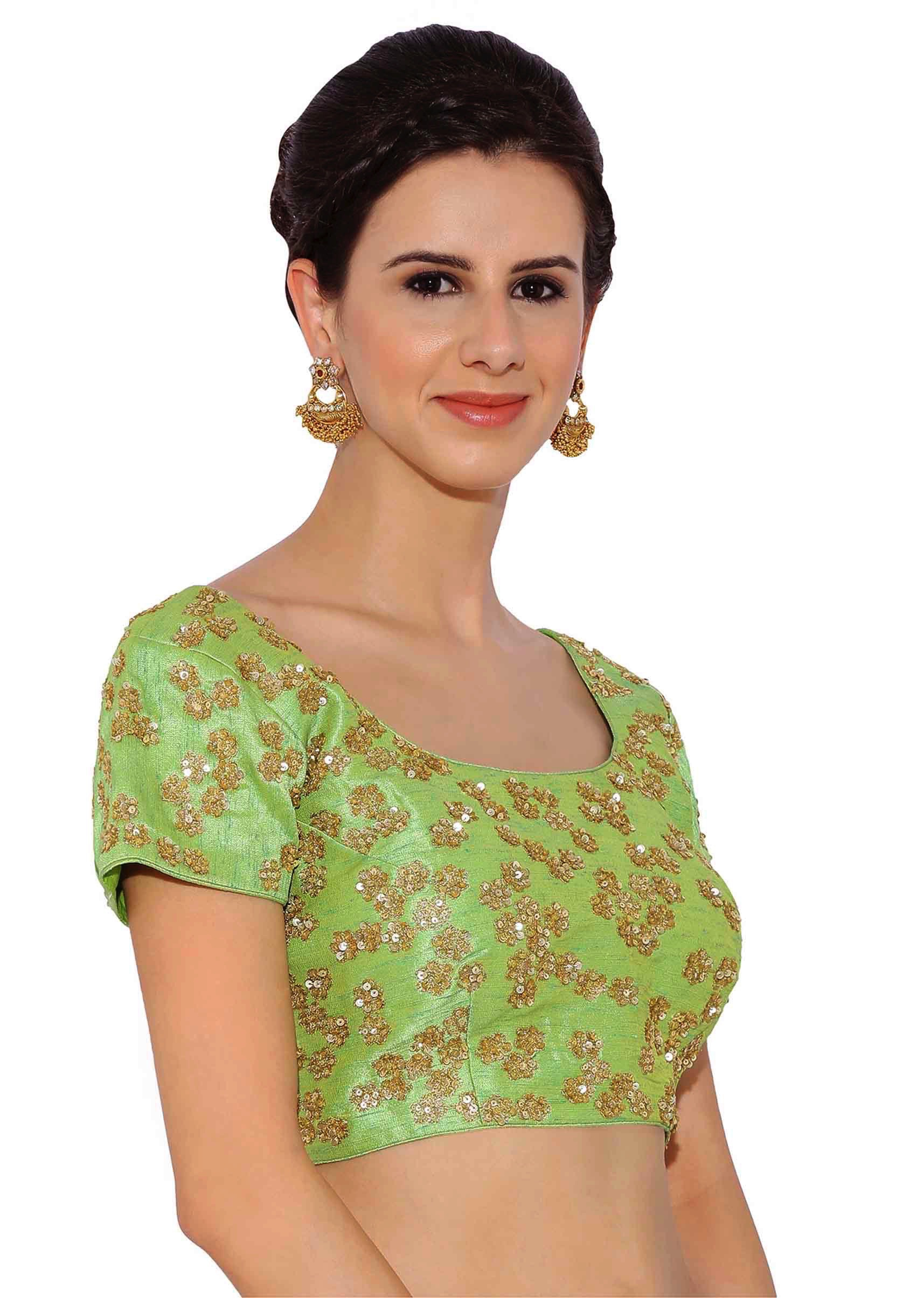 cca5c00054eeb4 Green Raw Silk Blouse With Sequin Embroidery only on KalkiMore Detail