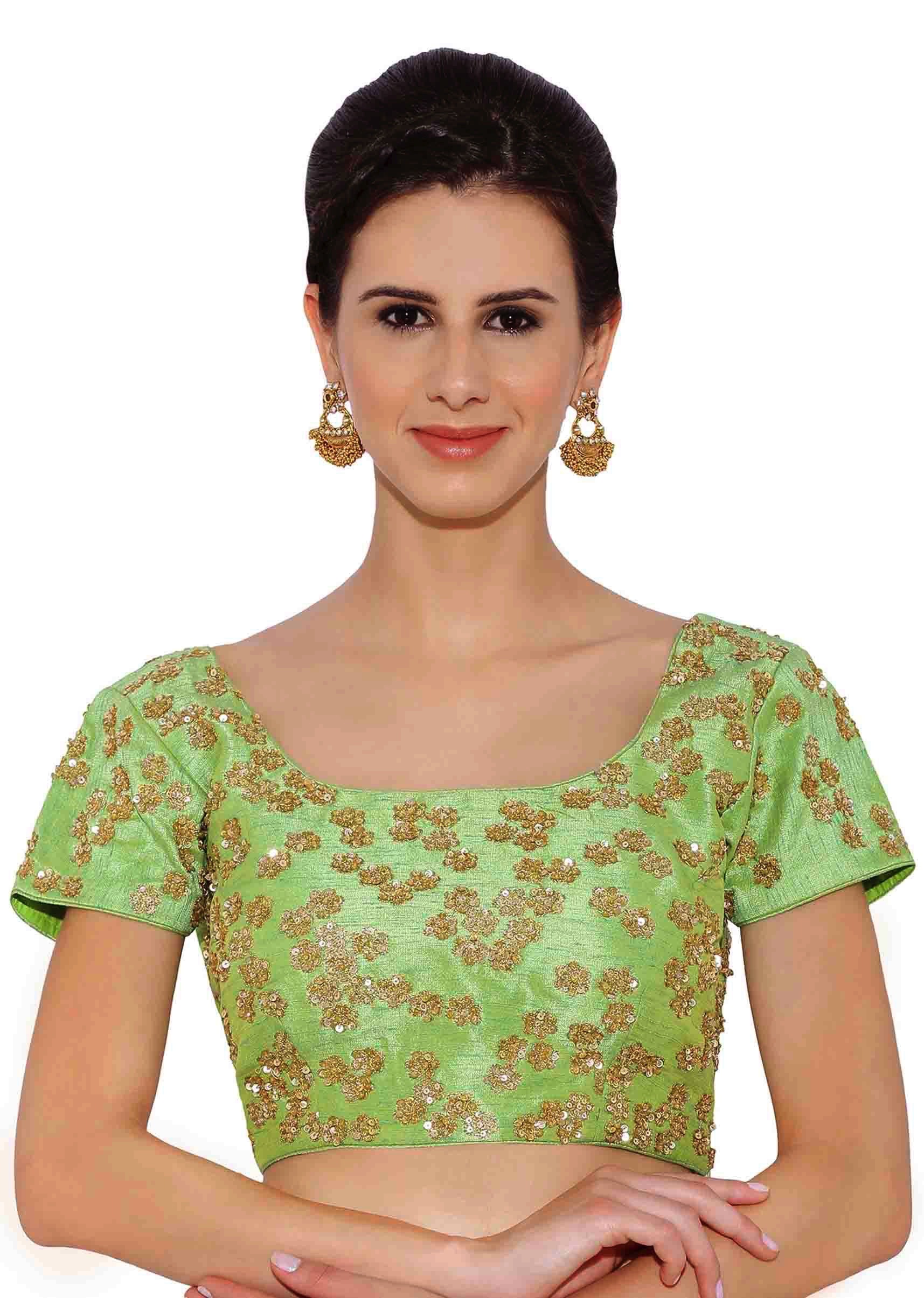 98394c657407ea Green Raw Silk Blouse With Sequin Embroidery only on Kalki