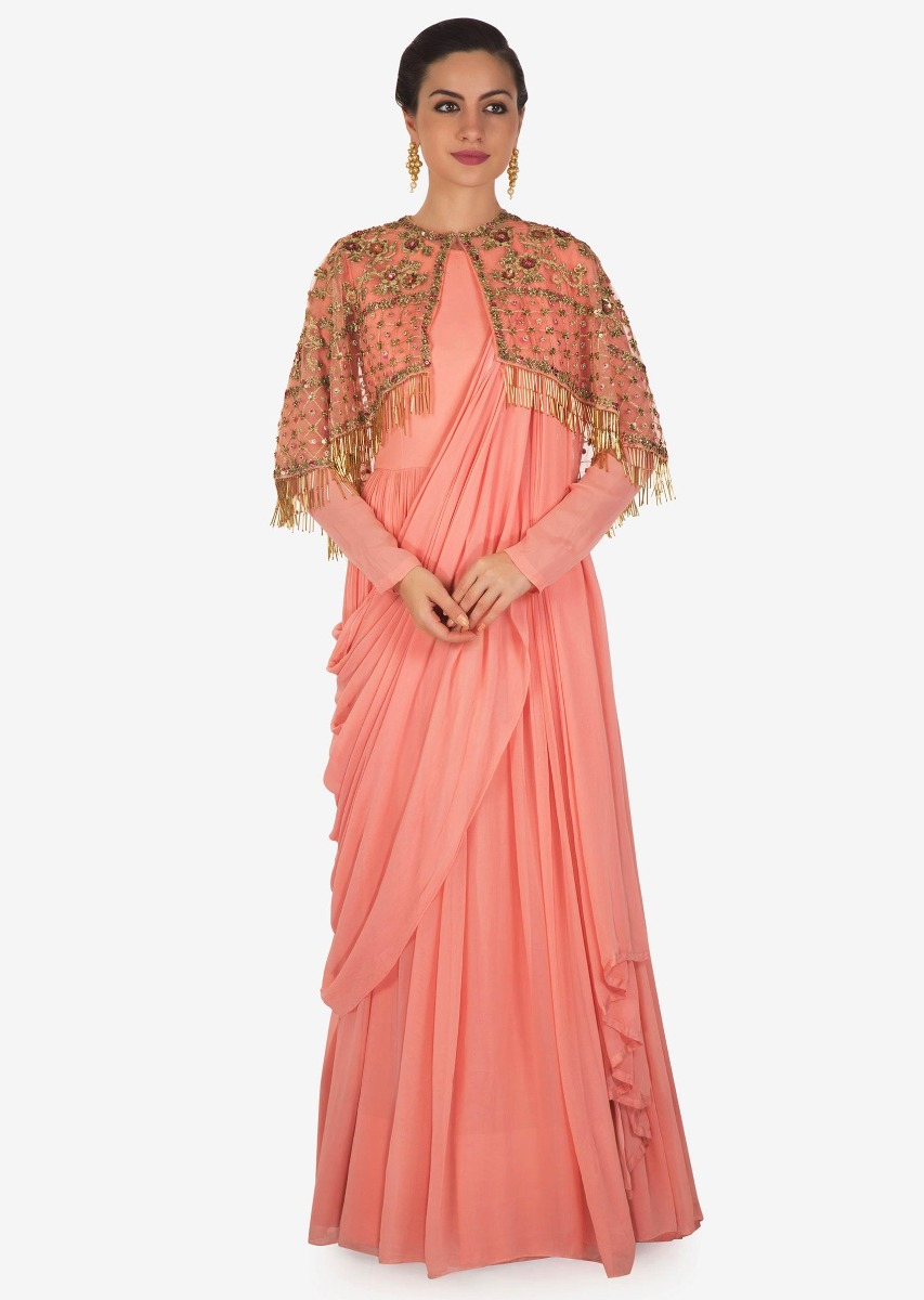 4132fc1ca13 Candy pink anarkali in georgette with an embellished cape only on KalkiMore  Detail