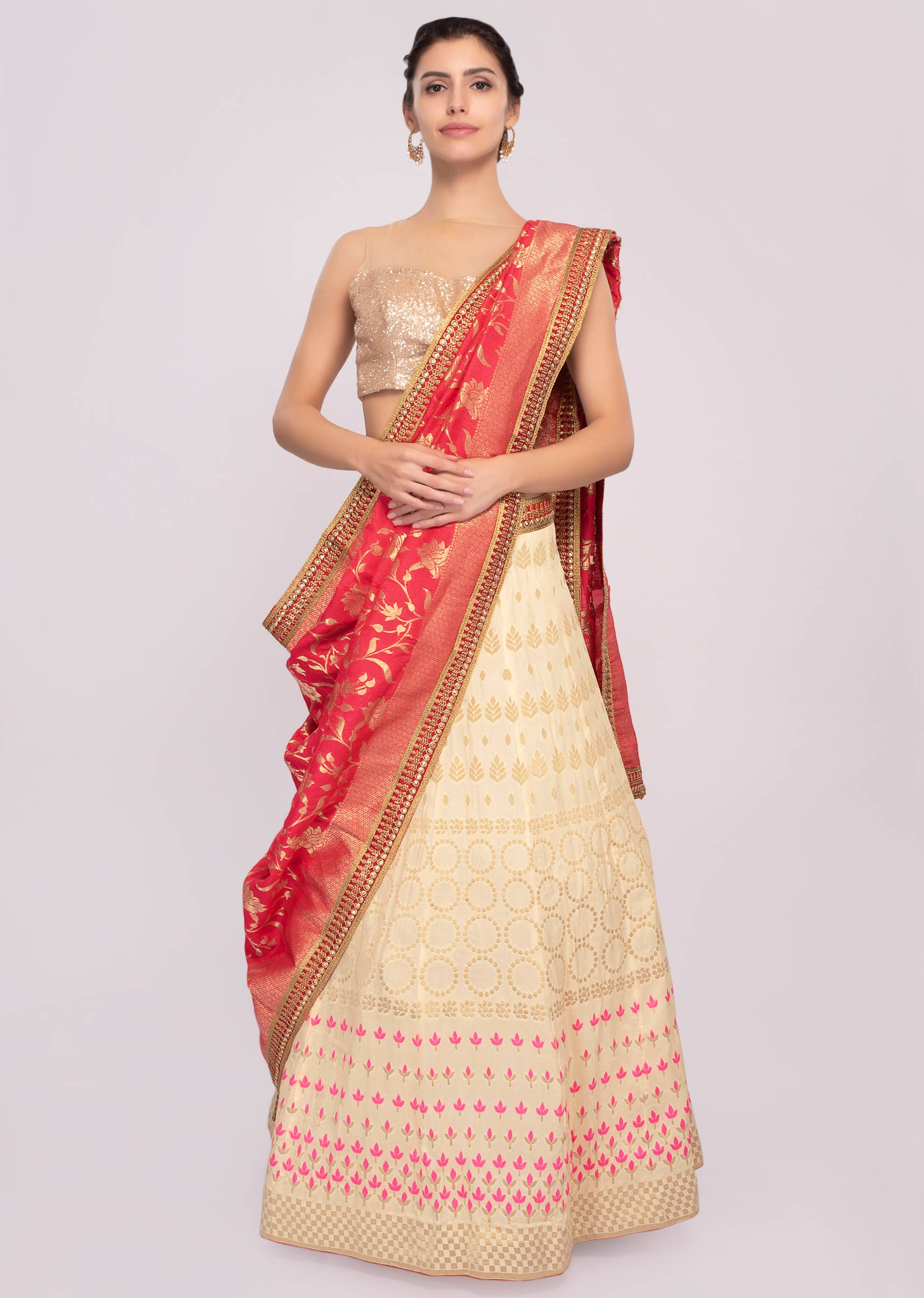 ccafedfbf7 Light cream cotton silk weaved lehenga paired with fushia pink weaved dupatta  only on KalkiMore Detail