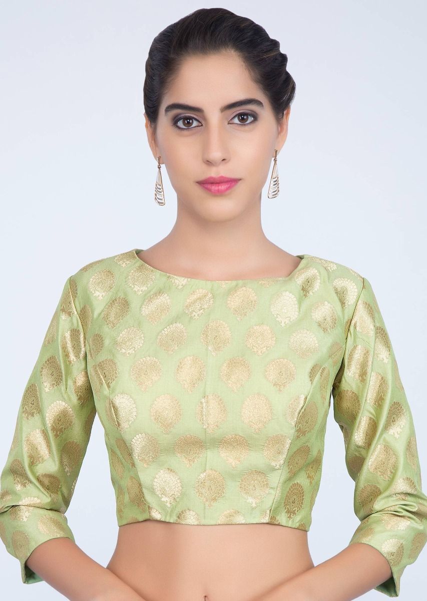 7322405d4e8f3e Light green brocade silk blouse with jaal work only on kalki