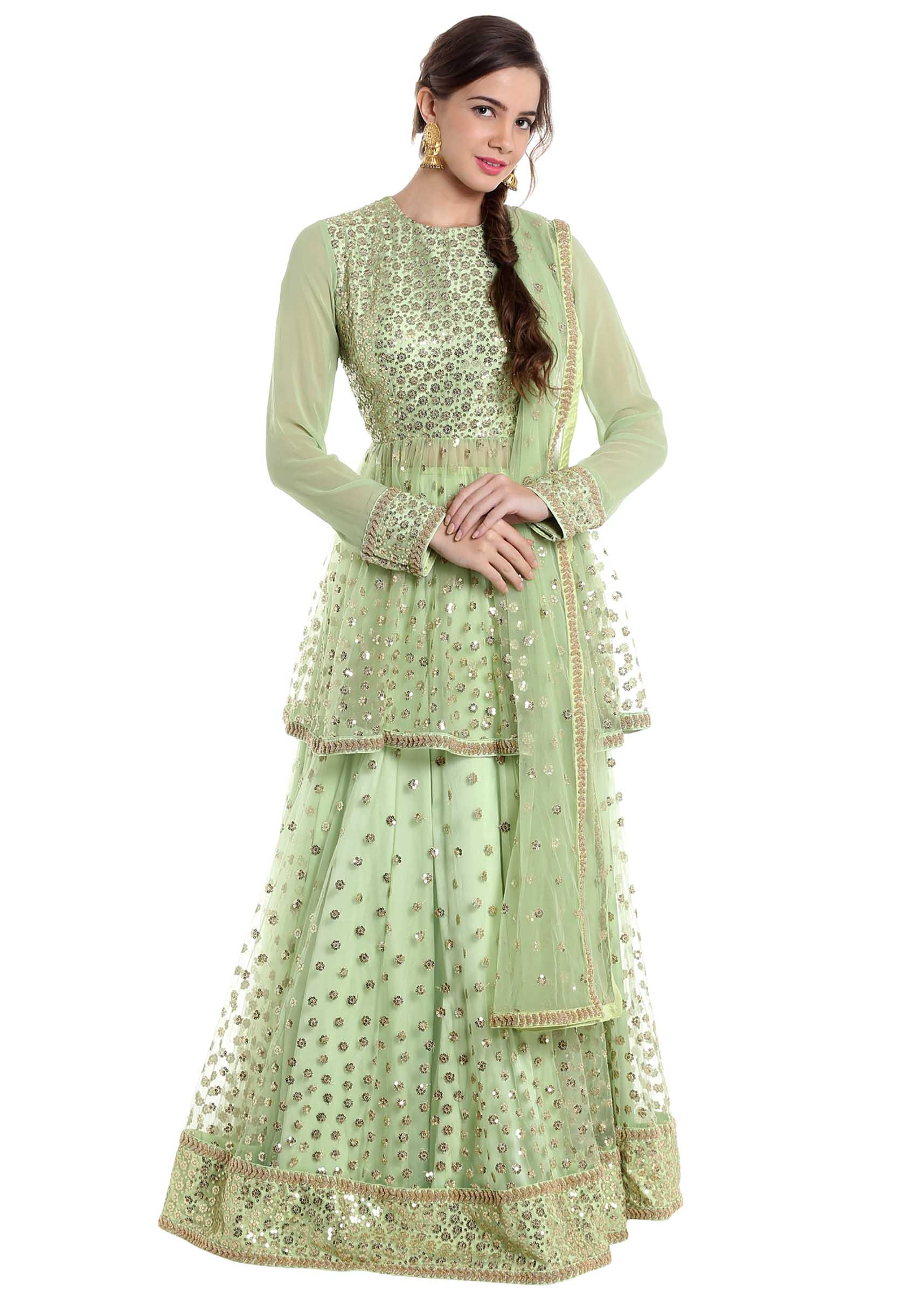 2fc95aac5819a9 Light green net lehenga and blouse adorned with sequins only on KalkiMore  Detail