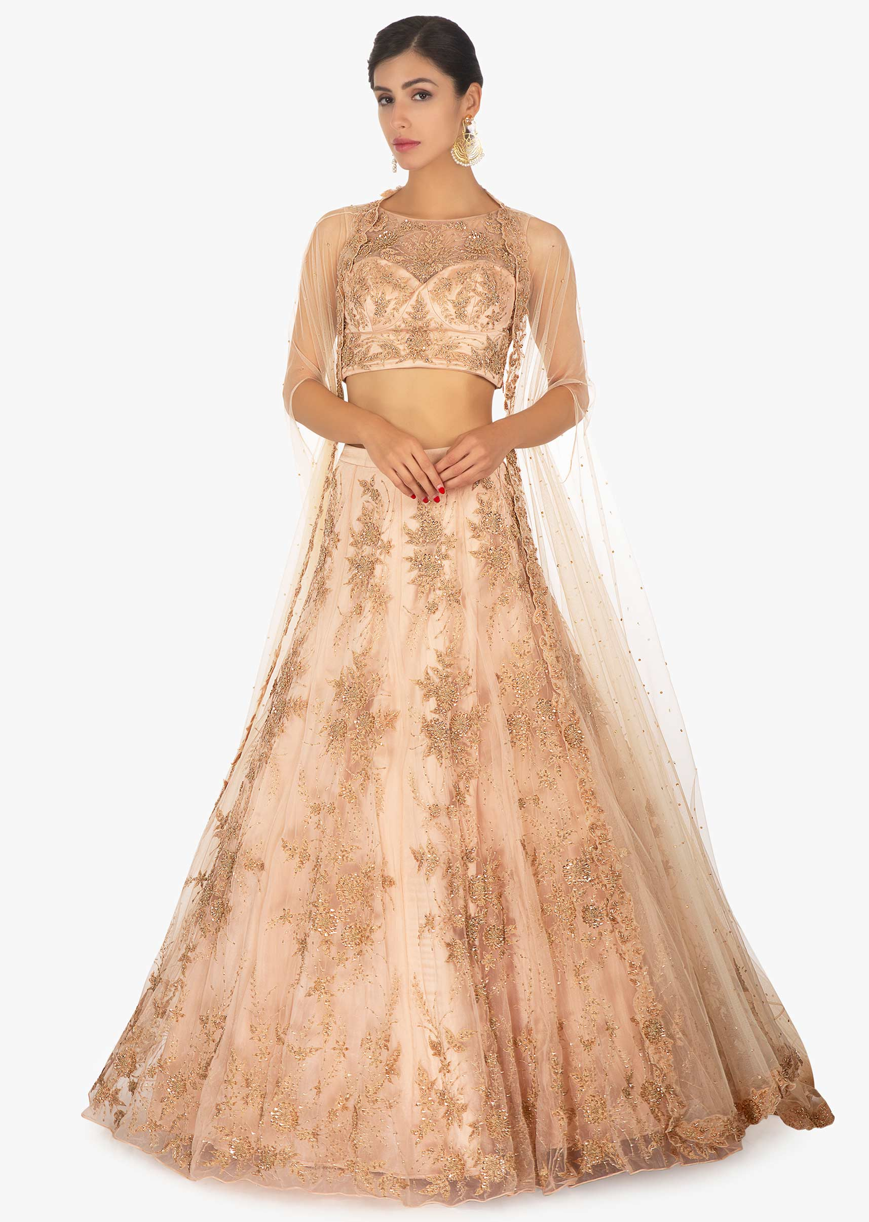 d6a627a82fa166 Light peach milano satin net lehenga set enhanced with a over lay net  jacket only on Kalki More Detail