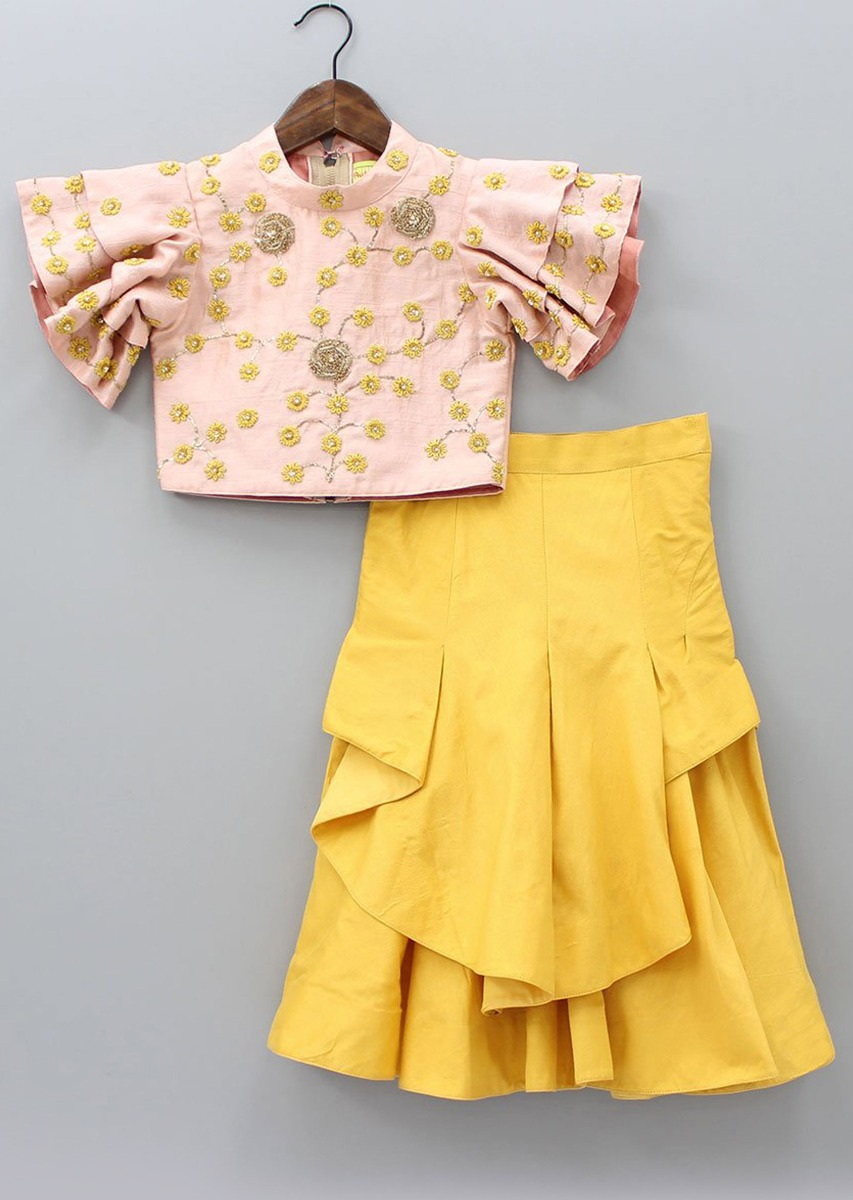 2223547dc84 Light pink crop top in floral jaal embroidery matched with mustard palazzo  skirt