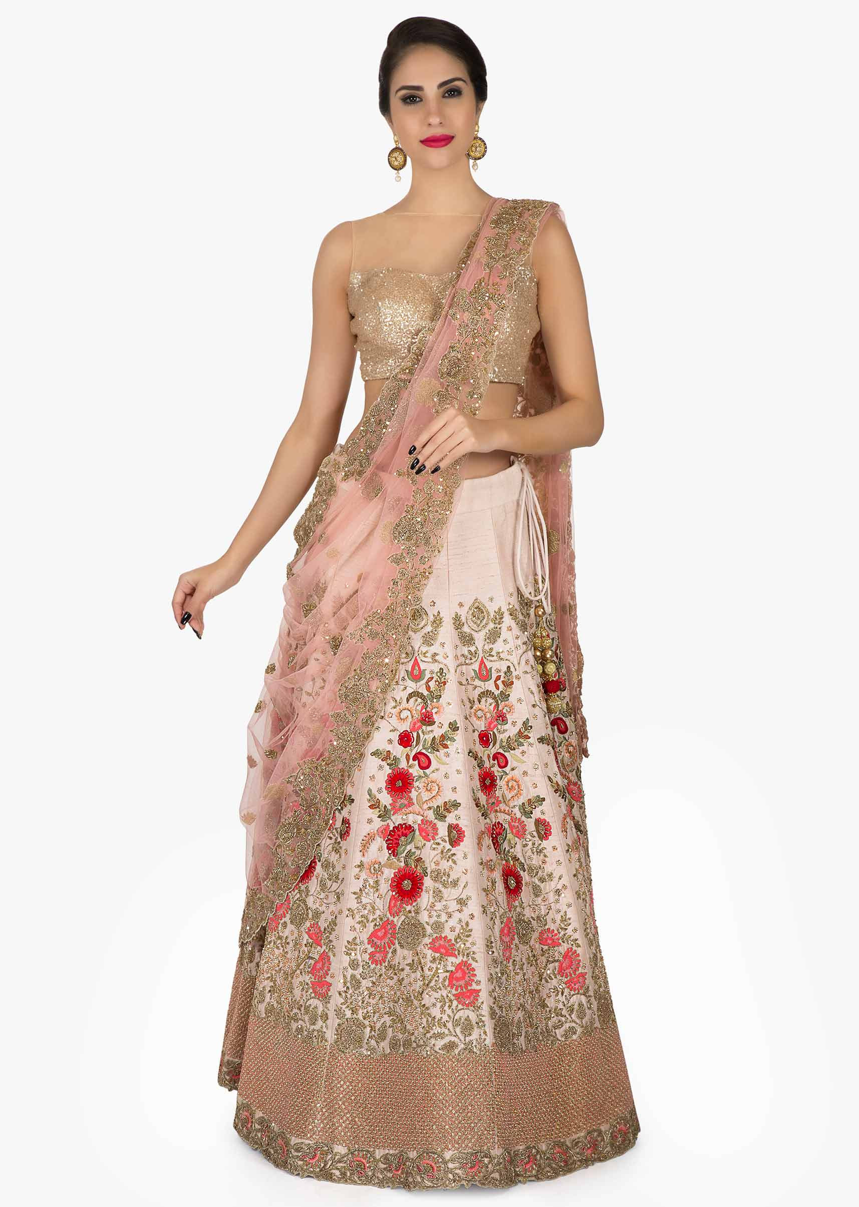 d4b726146a Light pink lehenga in silk with a net dupatta embellished in resham and  zardosi work only