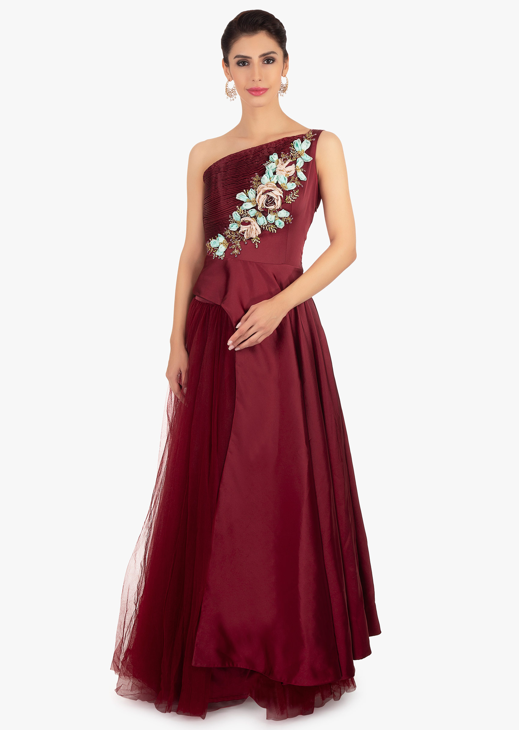 5aa0e2082bb5a Maroon satin floor length top paired with matching net skirt in satin  lining only on KalkiMore Detail. Sold Out