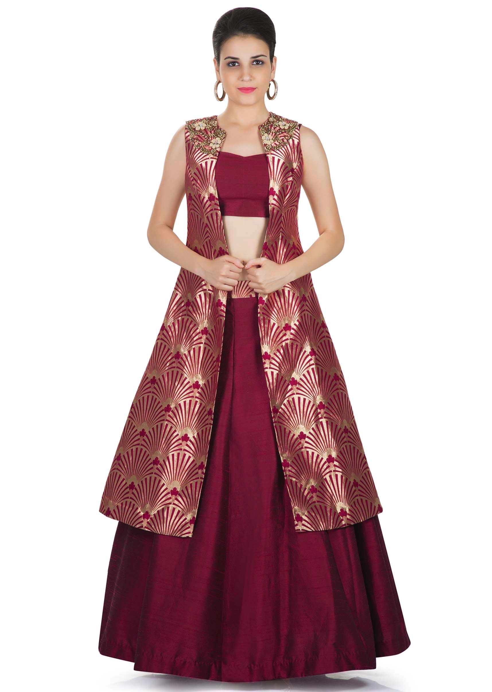 brand new designer fashion ever popular Maroon Skirt and Blouse Styled with Banarasi Brocade Jacket