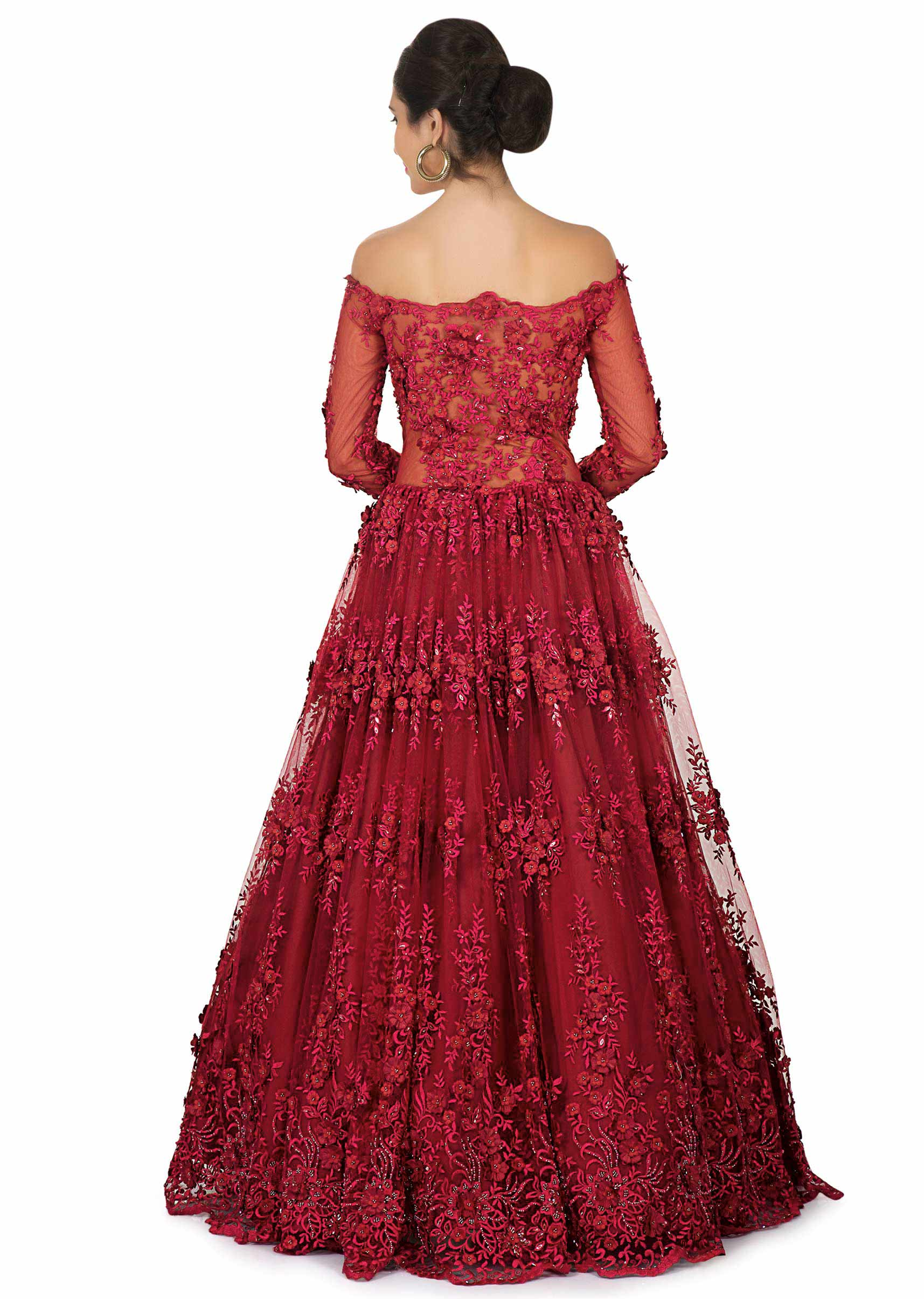 8478dd2a926 Shivangi Joshi in Kalki maroon off shoulder gown with embroidery