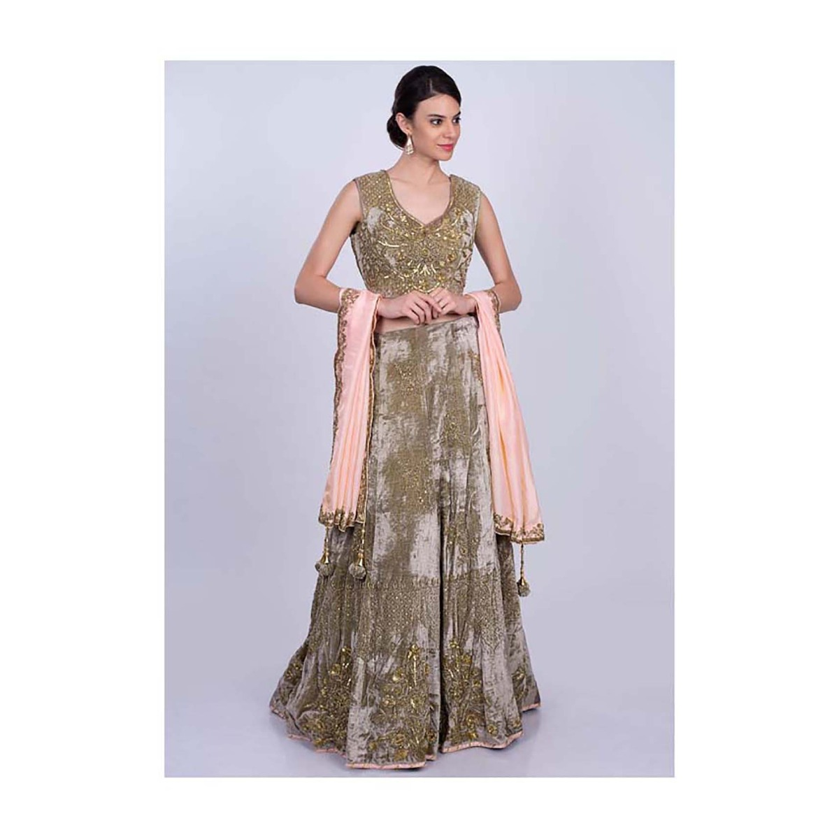 68da7910d0 Mauve green heavy velvet lehenga set with salmon pink silk dupatta only on  KalkiMore Detail