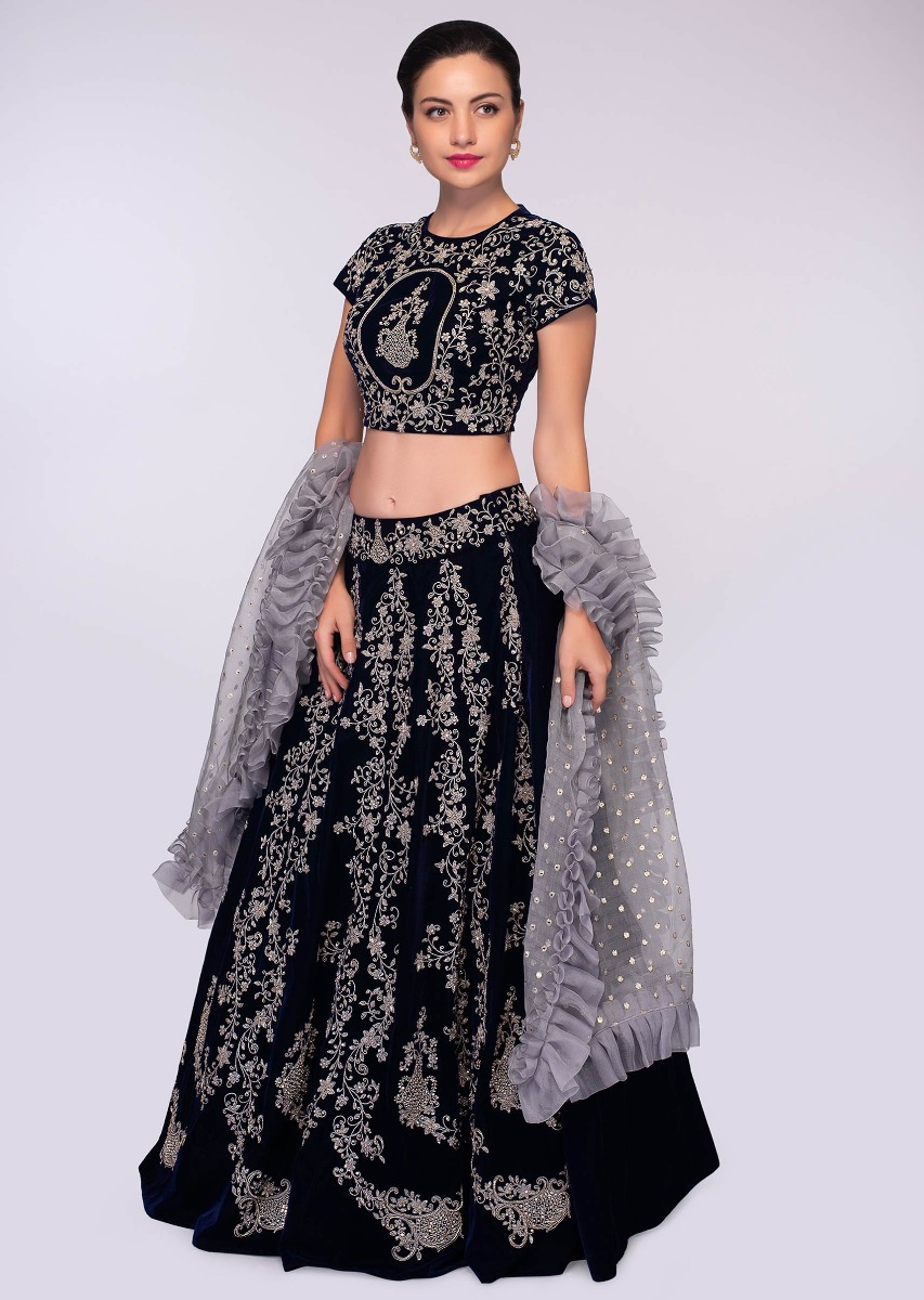 f0011ef4fe Midnight blue velvet lehenga set paired with grey ruffled organza dupatta  only on KalkiMore Detail