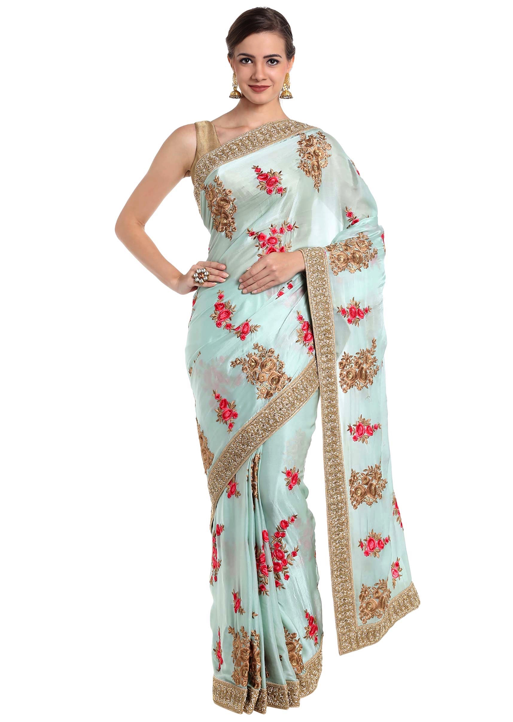 ec3ca3c11c9cb Mint blue satin saree embellished with resham and kardana work only on  KalkiMore Detail