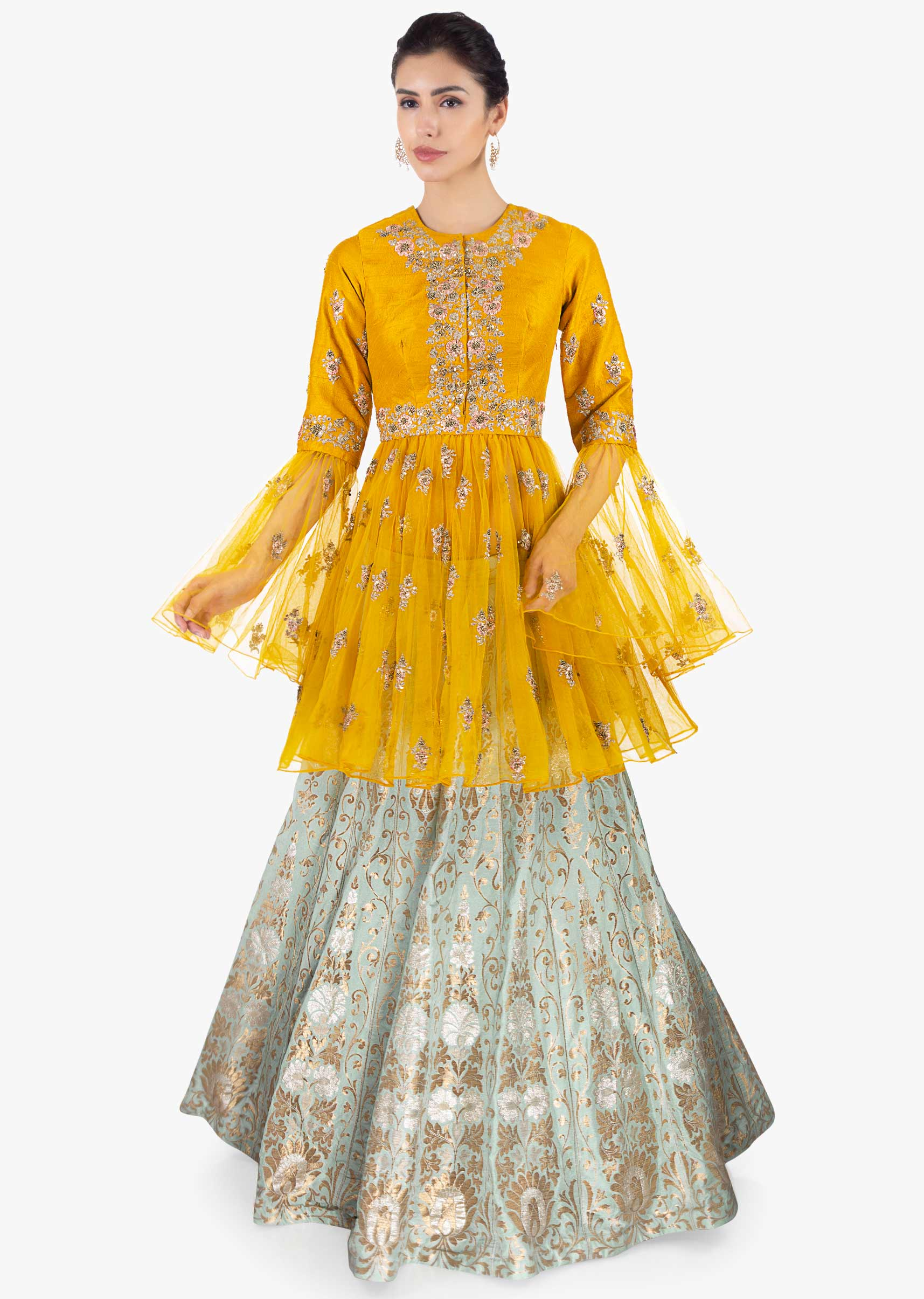 5e21a361903527 Mint green brocade lehenga paired with mustard thigh length long top only  on KalkiMore Detail