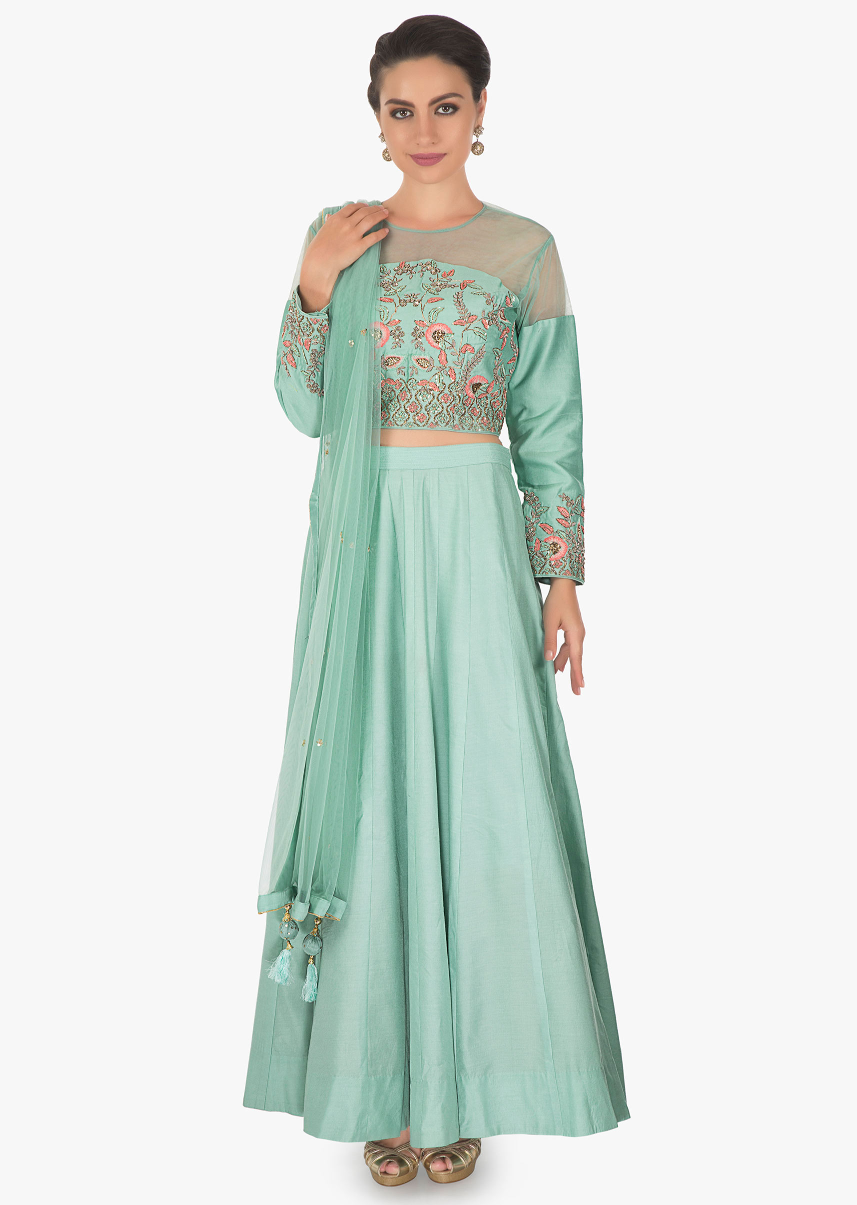 6eb867c3aa1359 Mint green cotton lehenga featuring with net yoke embroidery and resham  French knot . Matched with a mint net dupatta only on kalkiMore Detail